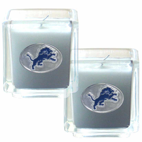 "Detroit Lions NFL Candle Set (2)  - This sports memorabilia Detroit Lions Candle Set includes two 2"" x 2"" vanilla scented candles featuring a metal square with a hand enameled Detroit Lions emblem. Officially licensed NFL product Licensee: Siskiyou Buckle .com"