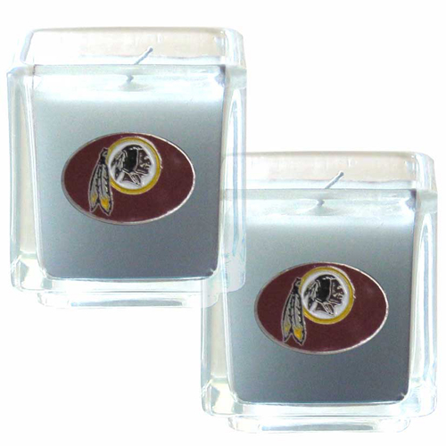 "Washington Redskins NFL Candle Set (2) - This sports memorabilia Washington Redskins Candle Set includes two 2"" x 2"" vanilla scented candles featuring a metal square with a hand enameled Washington Redskins emblem. Officially licensed NFL product Licensee: Siskiyou Buckle Thank you for visiting CrazedOutSports.com"