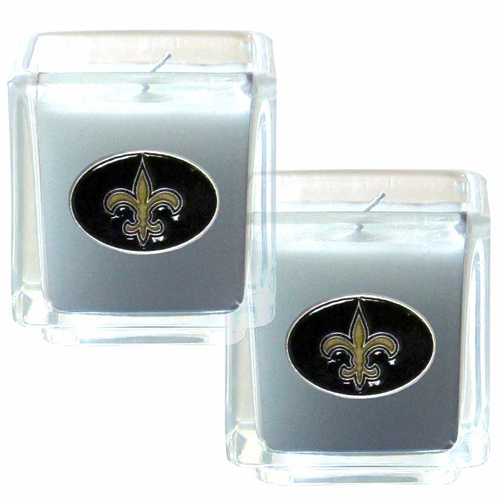 "New Orleans Saints NFL Candle Set (2) - This sports memorabilia New Orleans Saints Candle Set includes two 2"" x 2"" vanilla scented candles featuring a metal square with a hand enameled New Orleans Saints emblem. Officially licensed NFL product Licensee: Siskiyou Buckle Thank you for visiting CrazedOutSports.com"