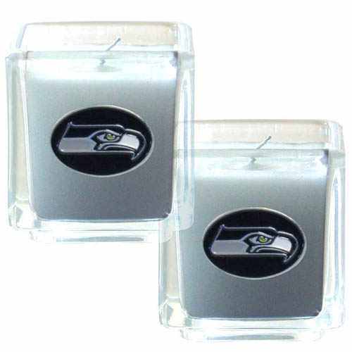 "Seattle Seahawks NFL Candle Set (2)  - This sports memorabilia Seattle Seahawks Candle Set includes two 2"" x 2"" vanilla scented candles featuring a metal square with a hand enameled Seattle Seahawks emblem. Officially licensed NFL product Licensee: Siskiyou Buckle .com"
