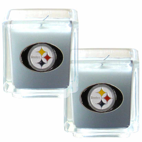 "Pittsburgh Steelers NFL Candle Set (2) - This sports memorabilia Pittsburgh Steelers Candle Set includes two 2"" x 2"" vanilla scented candles featuring a metal square with a hand enameled Pittsburgh Steelers emblem. Officially licensed NFL product Licensee: Siskiyou Buckle .com"
