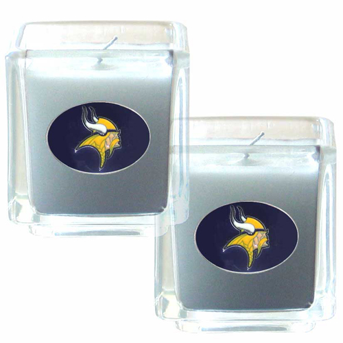 "Minnesota Vikings NFL Candle Set (2) - This sports memorabilia Minnesota Vikings Candle Set includes two 2"" x 2"" vanilla scented candles featuring a metal square with a hand enameled Minnesota Vikings emblem. Officially licensed NFL product Licensee: Siskiyou Buckle .com"