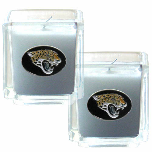 "Jacksonville Jaguars NFL Candle Set (2) - This sports memorabilia Jacksonville Jaguars Candle Set includes two 2"" x 2"" vanilla scented candles featuring a metal square with a hand enameled Jacksonville Jaguars emblem. Officially licensed NFL product Licensee: Siskiyou Buckle Thank you for visiting CrazedOutSports.com"