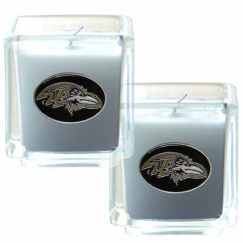 "Baltimore Ravens NFL Candle Set (2) - This sports memorabilia Baltimore Ravens Candle Set includes two 2"" x 2"" vanilla scented candles featuring a metal square with a hand enameled Baltimore Ravens emblem. Officially licensed NFL product Licensee: Siskiyou Buckle .com"