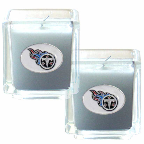 "Tennessee Titans NFL Candle Set (2) - This sports memorabilia Tennessee Titans Candle Set includes two 2"" x 2"" vanilla scented candles featuring a metal square with a hand enameled Tennessee Titans emblem. Officially licensed NFL product Licensee: Siskiyou Buckle .com"