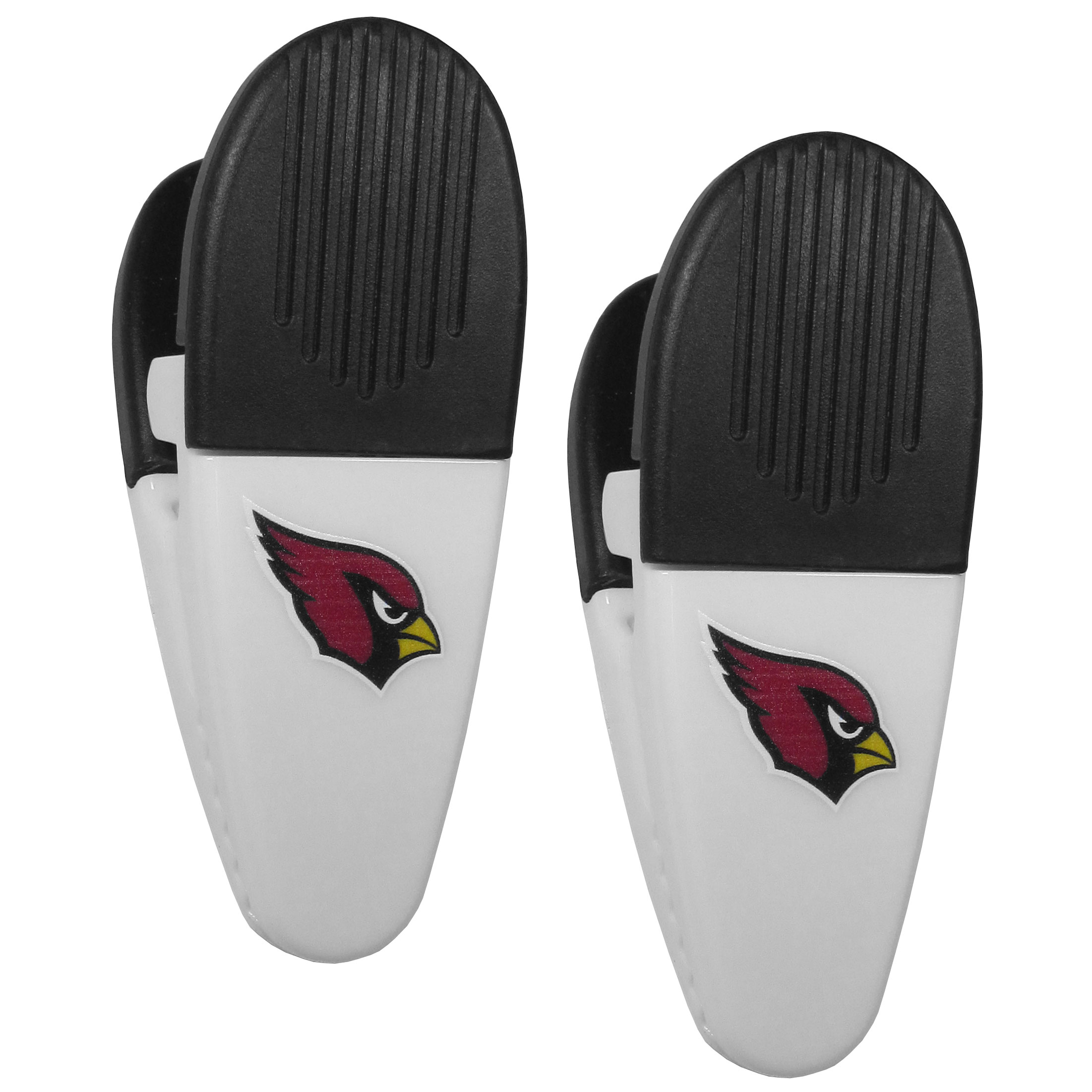 Arizona Cardinals Mini Chip Clip Magnets, 2 pk - Our Arizona Cardinals chip clip magnets feature a crisp team logo on the front of the clip. The clip is perfect for sealing chips for freshness and with the powerful magnet on the back it can be used to attach notes to the fridge or hanging your child's artwork. Set of 2 magnet clips, each clip is 3.5 inches tall and 1.25 inch wide.