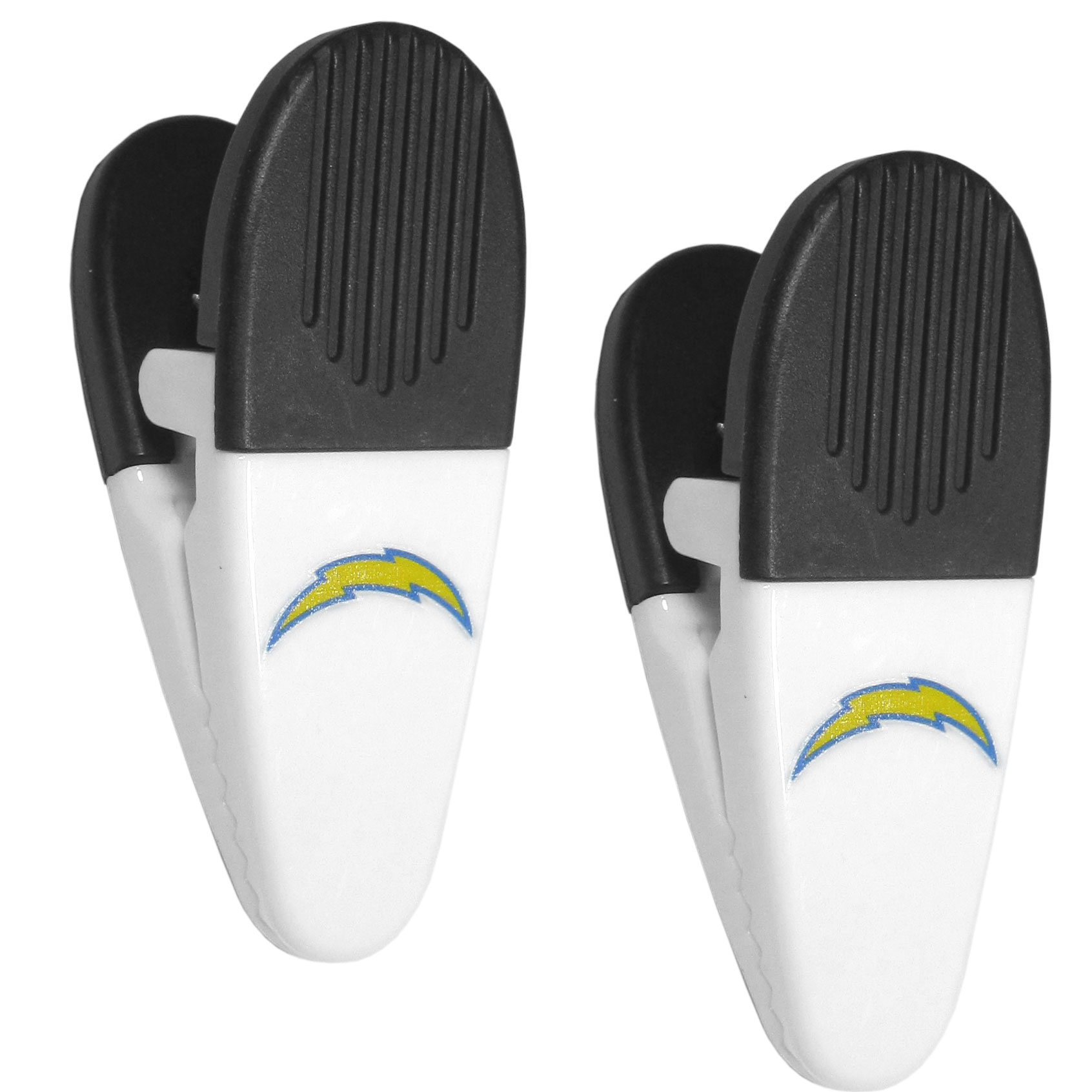 Los Angeles Chargers Mini Chip Clip Magnets, 2 pk - Our Los Angeles Chargers chip clip magnets feature a crisp team logo on the front of the clip. The clip is perfect for sealing chips for freshness and with the powerful magnet on the back it can be used to attach notes to the fridge or hanging your child's artwork. Set of 2 magnet clips, each clip is 3.5 inches tall and 1.25 inch wide.