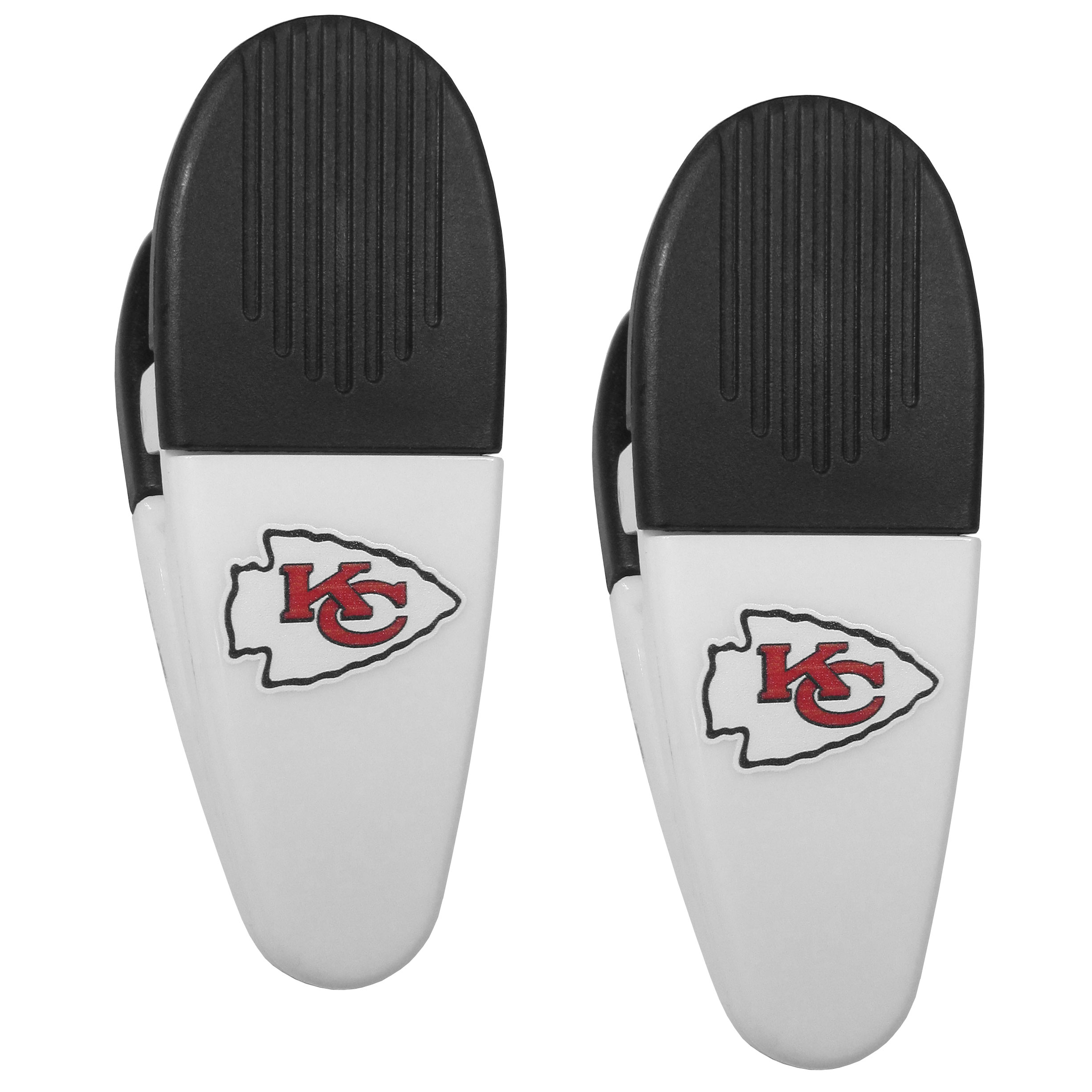 Kansas City Chiefs Mini Chip Clip Magnets, 2 pk - Our Kansas City Chiefs chip clip magnets feature a crisp team logo on the front of the clip. The clip is perfect for sealing chips for freshness and with the powerful magnet on the back it can be used to attach notes to the fridge or hanging your child's artwork. Set of 2 magnet clips, each clip is 3.5 inches tall and 1.25 inch wide.