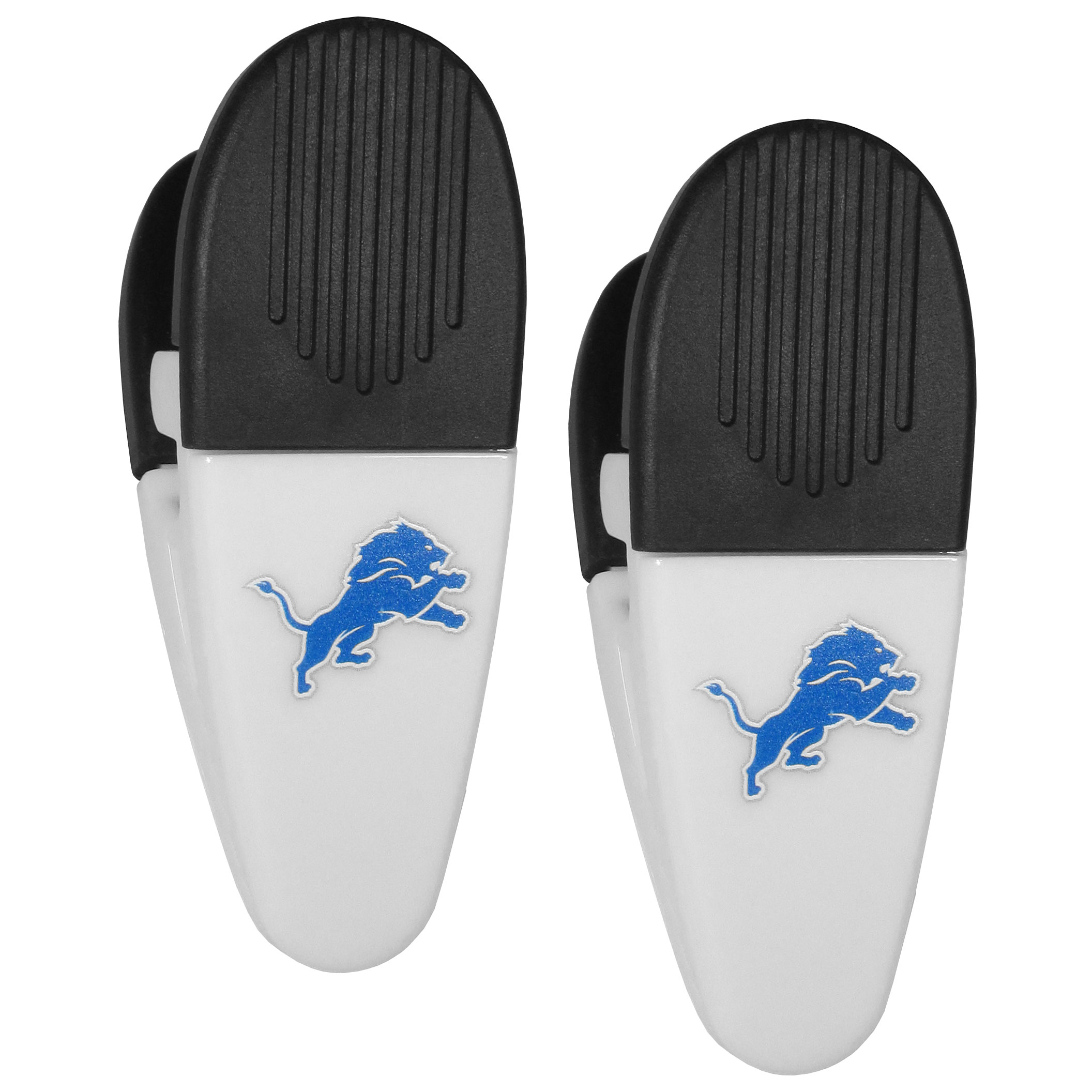 Detroit Lions Mini Chip Clip Magnets, 2 pk - Our Detroit Lions chip clip magnets feature a crisp team logo on the front of the clip. The clip is perfect for sealing chips for freshness and with the powerful magnet on the back it can be used to attach notes to the fridge or hanging your child's artwork. Set of 2 magnet clips, each clip is 3.5 inches tall and 1.25 inch wide.
