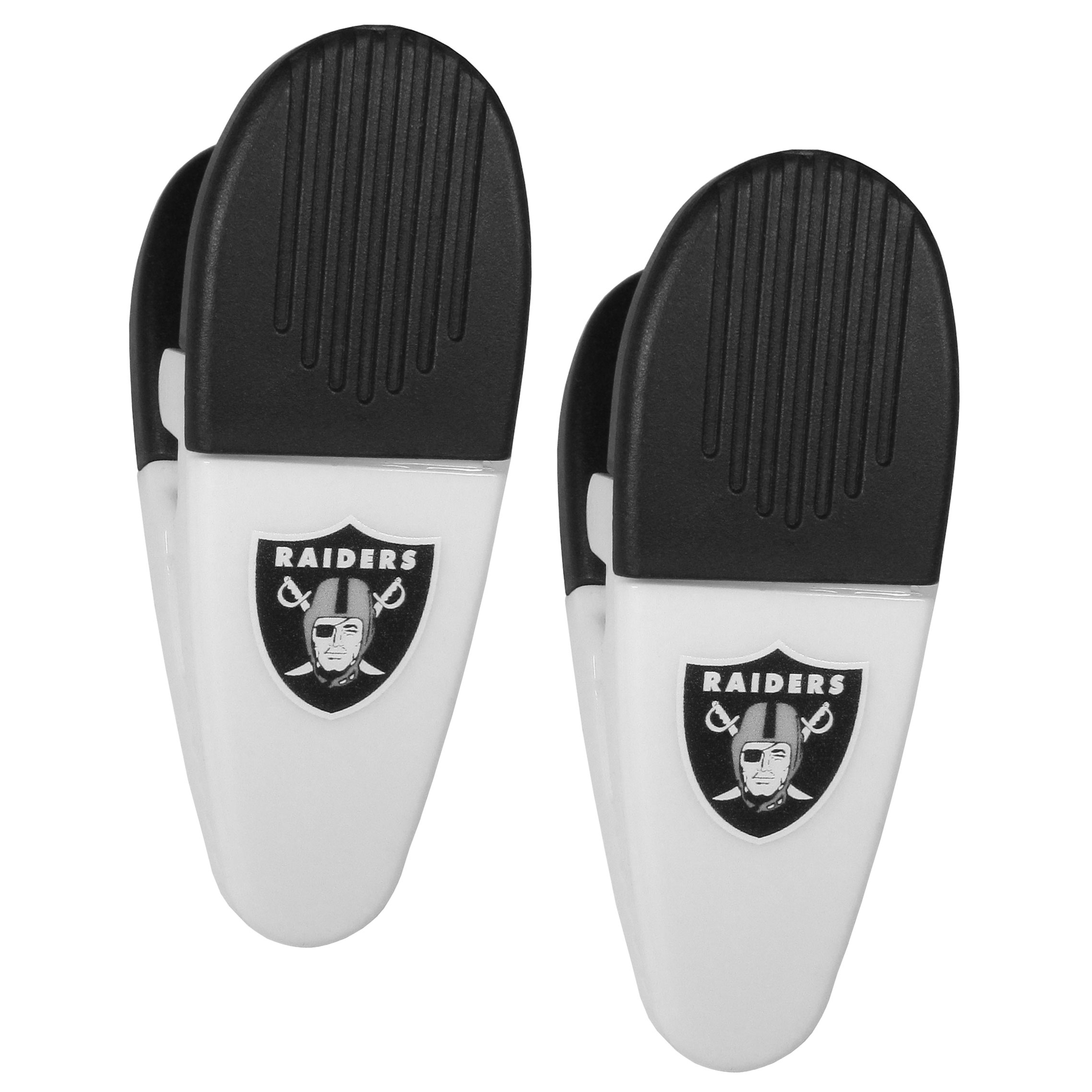 Oakland Raiders Mini Chip Clip Magnets, 2 pk - Our Oakland Raiders chip clip magnets feature a crisp team logo on the front of the clip. The clip is perfect for sealing chips for freshness and with the powerful magnet on the back it can be used to attach notes to the fridge or hanging your child's artwork. Set of 2 magnet clips, each clip is 3.5 inches tall and 1.25 inch wide.