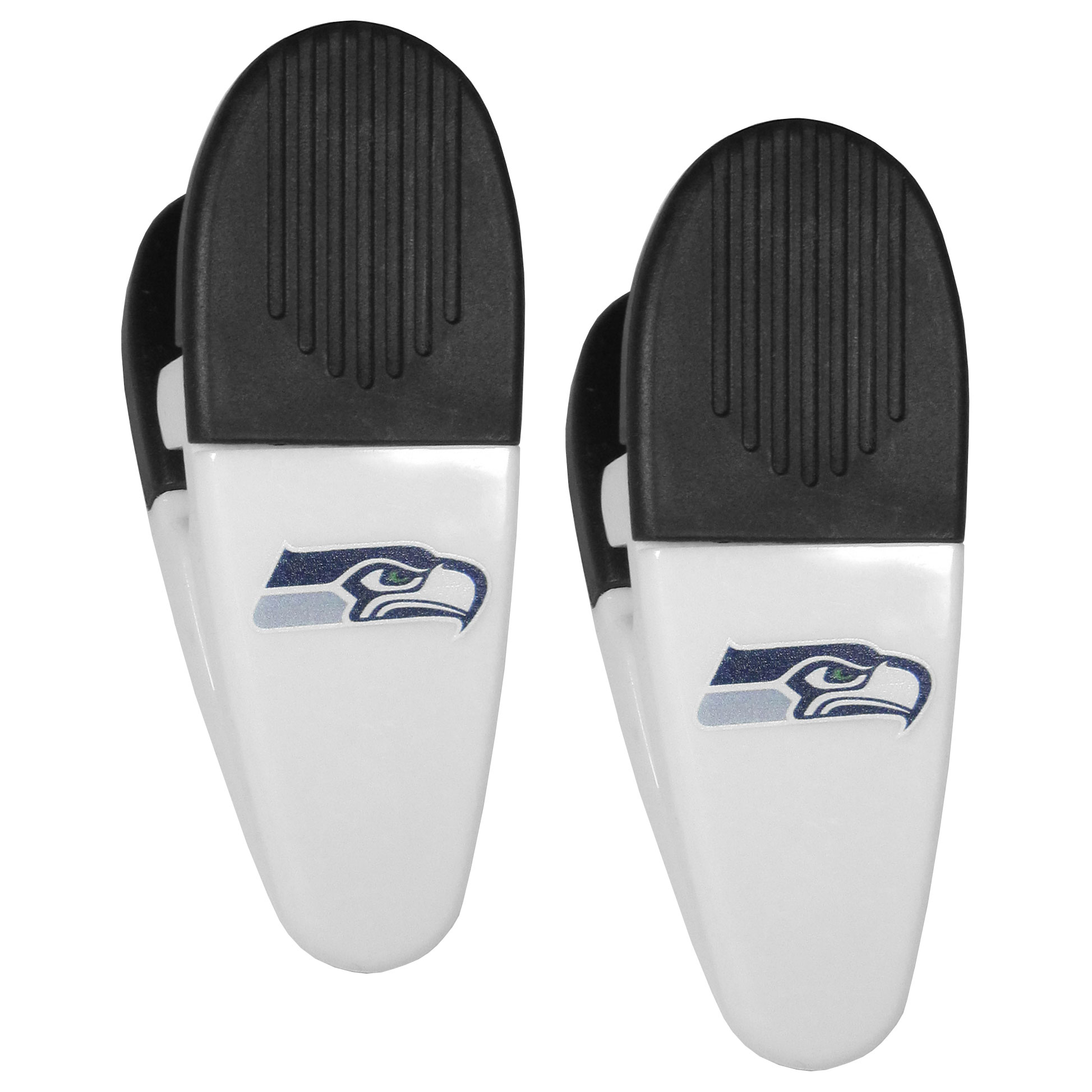 Seattle Seahawks Mini Chip Clip Magnets, 2 pk - Our Seattle Seahawks chip clip magnets feature a crisp team logo on the front of the clip. The clip is perfect for sealing chips for freshness and with the powerful magnet on the back it can be used to attach notes to the fridge or hanging your child's artwork. Set of 2 magnet clips, each clip is 3.5 inches tall and 1.25 inch wide.