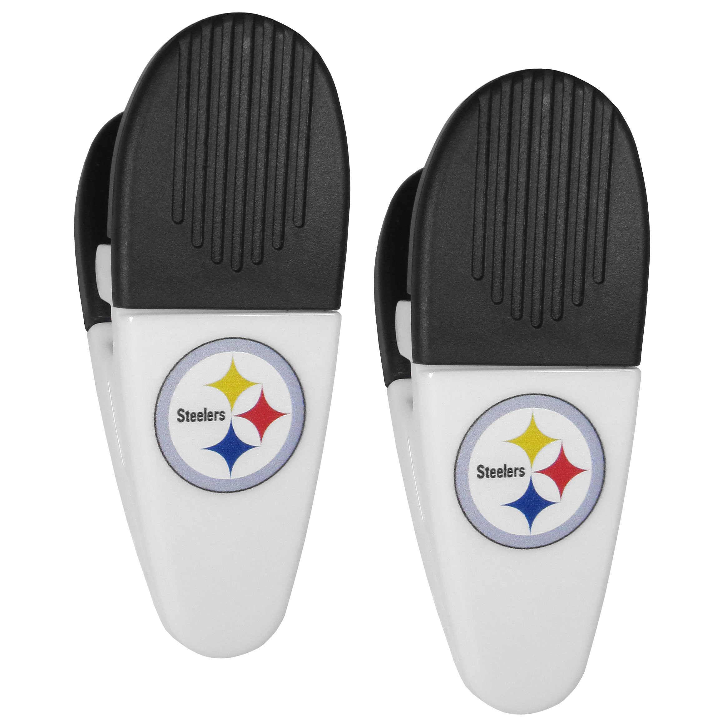 Pittsburgh Steelers Mini Chip Clip Magnets, 2 pk - Our Pittsburgh Steelers chip clip magnets feature a crisp team logo on the front of the clip. The clip is perfect for sealing chips for freshness and with the powerful magnet on the back it can be used to attach notes to the fridge or hanging your child's artwork. Set of 2 magnet clips, each clip is 3.5 inches tall and 1.25 inch wide.