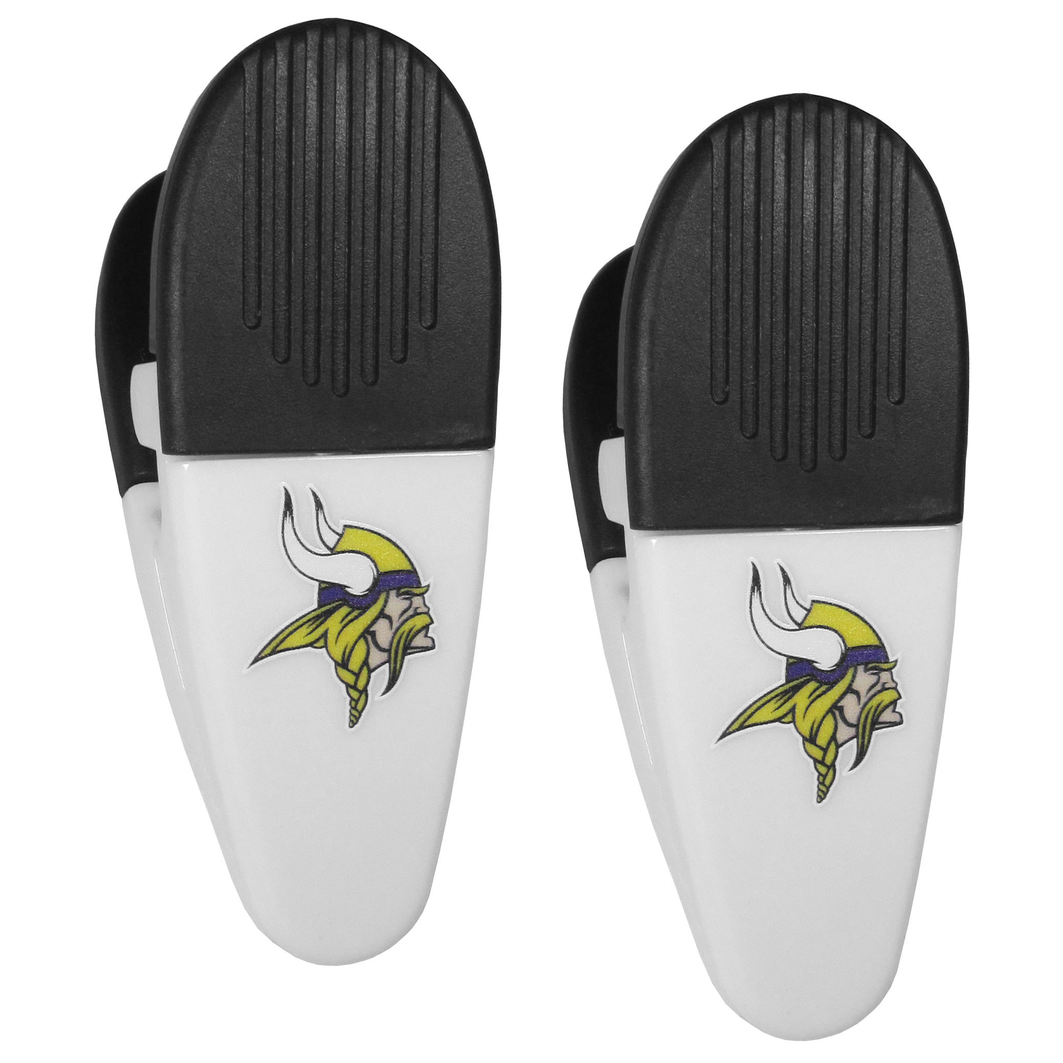 Minnesota Vikings Mini Chip Clip Magnets, 2 pk - Our Minnesota Vikings chip clip magnets feature a crisp team logo on the front of the clip. The clip is perfect for sealing chips for freshness and with the powerful magnet on the back it can be used to attach notes to the fridge or hanging your child's artwork. Set of 2 magnet clips, each clip is 3.5 inches tall and 1.25 inch wide.