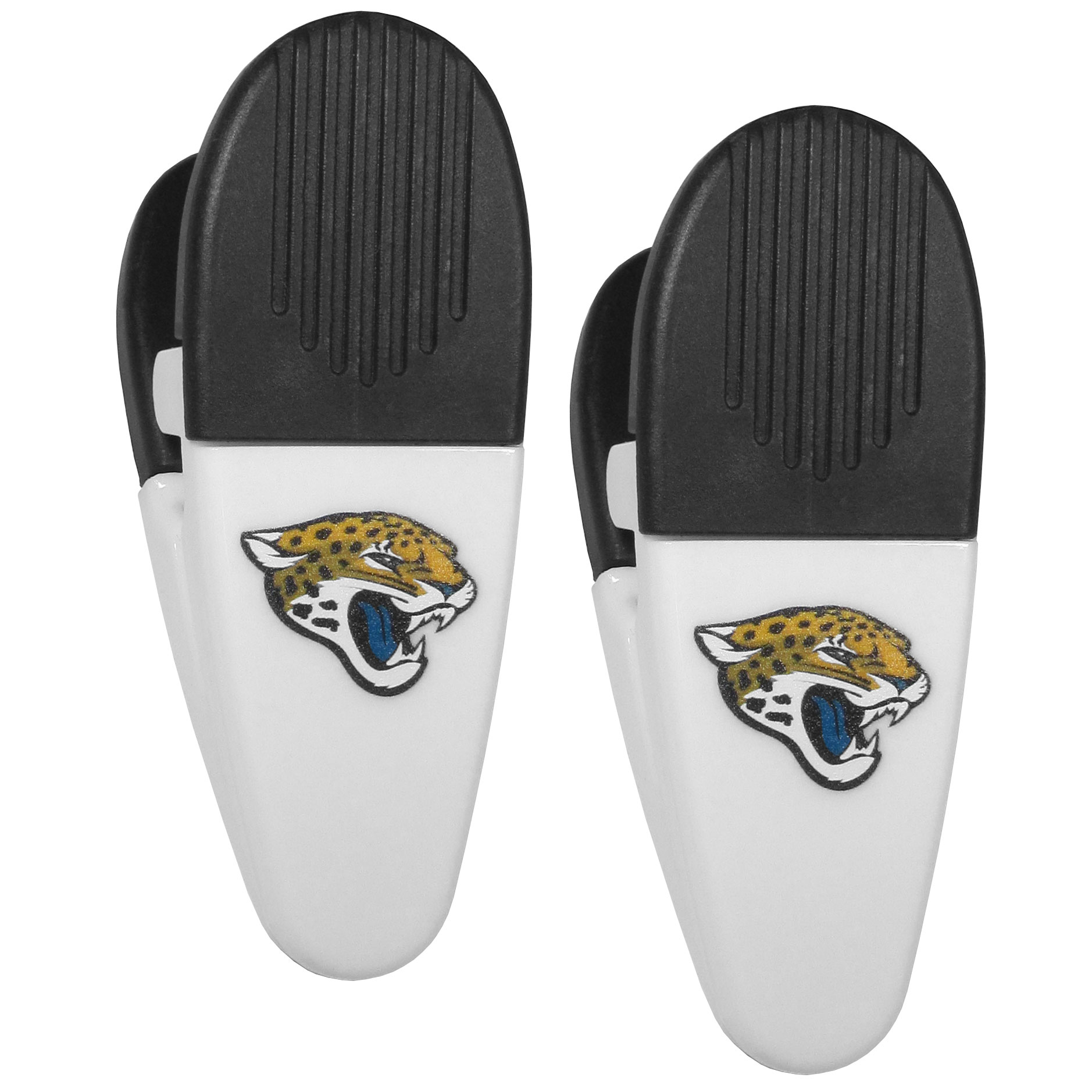 Jacksonville Jaguars Mini Chip Clip Magnets, 2 pk - Our Jacksonville Jaguars chip clip magnets feature a crisp team logo on the front of the clip. The clip is perfect for sealing chips for freshness and with the powerful magnet on the back it can be used to attach notes to the fridge or hanging your child's artwork. Set of 2 magnet clips, each clip is 3.5 inches tall and 1.25 inch wide.