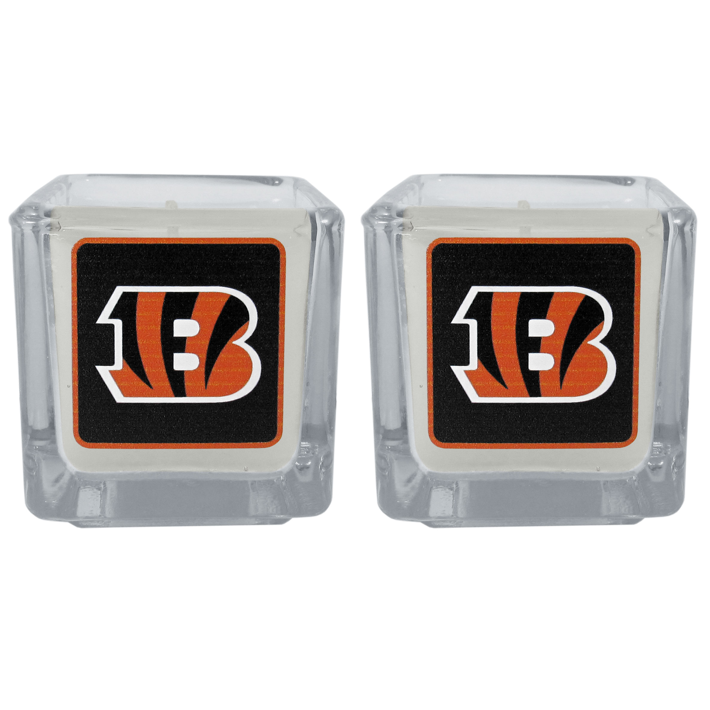 Cincinnati Bengals Graphics Candle Set - Our candle set features 2 lightly vanilla scented candles with the Cincinnati Bengals logo expertly printed on front. The candles are 2 inches tall in the votive style.