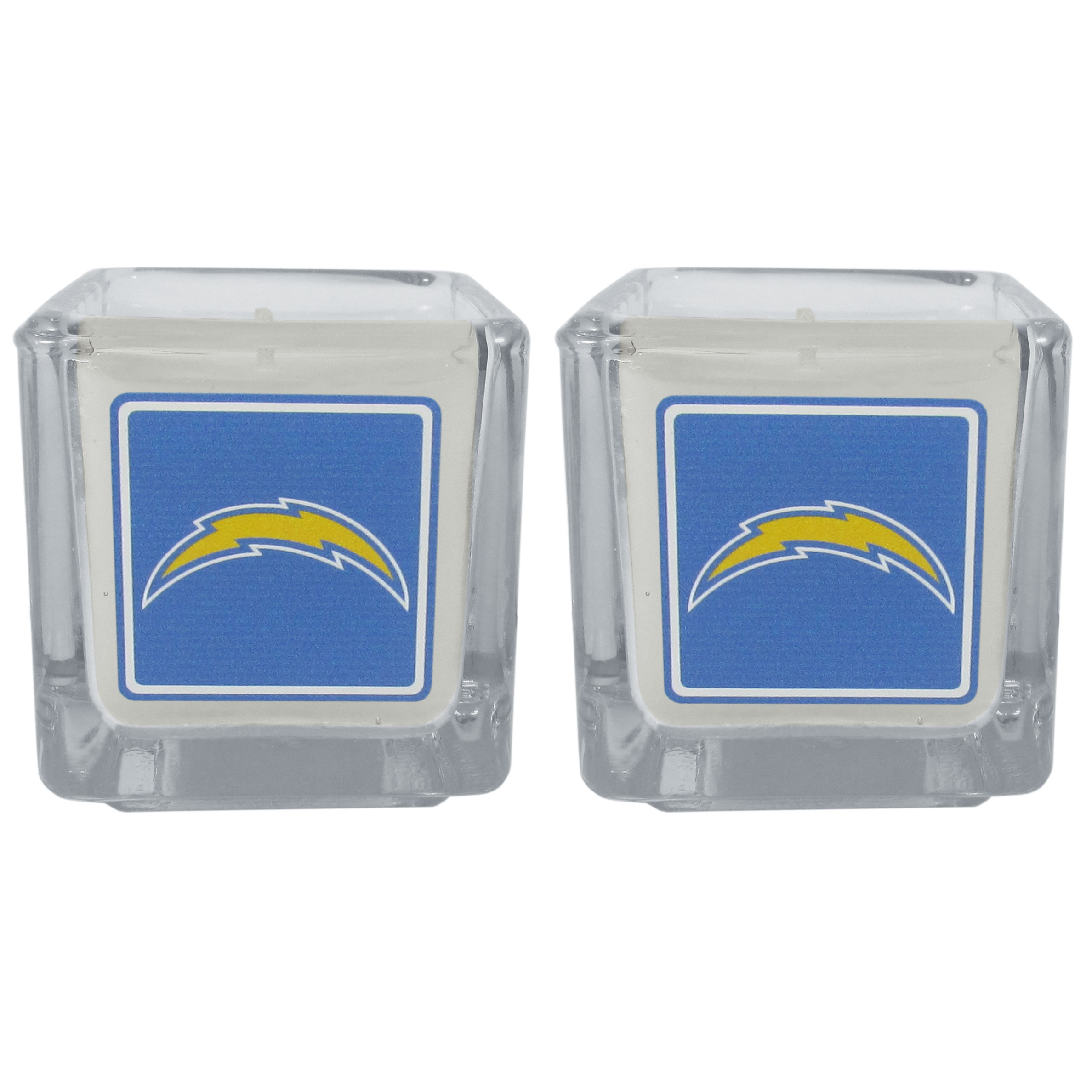 Los Angeles Chargers Graphics Candle Set - Our candle set features 2 lightly vanilla scented candles with the Los Angeles Chargers logo expertly printed on front. The candles are 2 inches tall in the votive style.