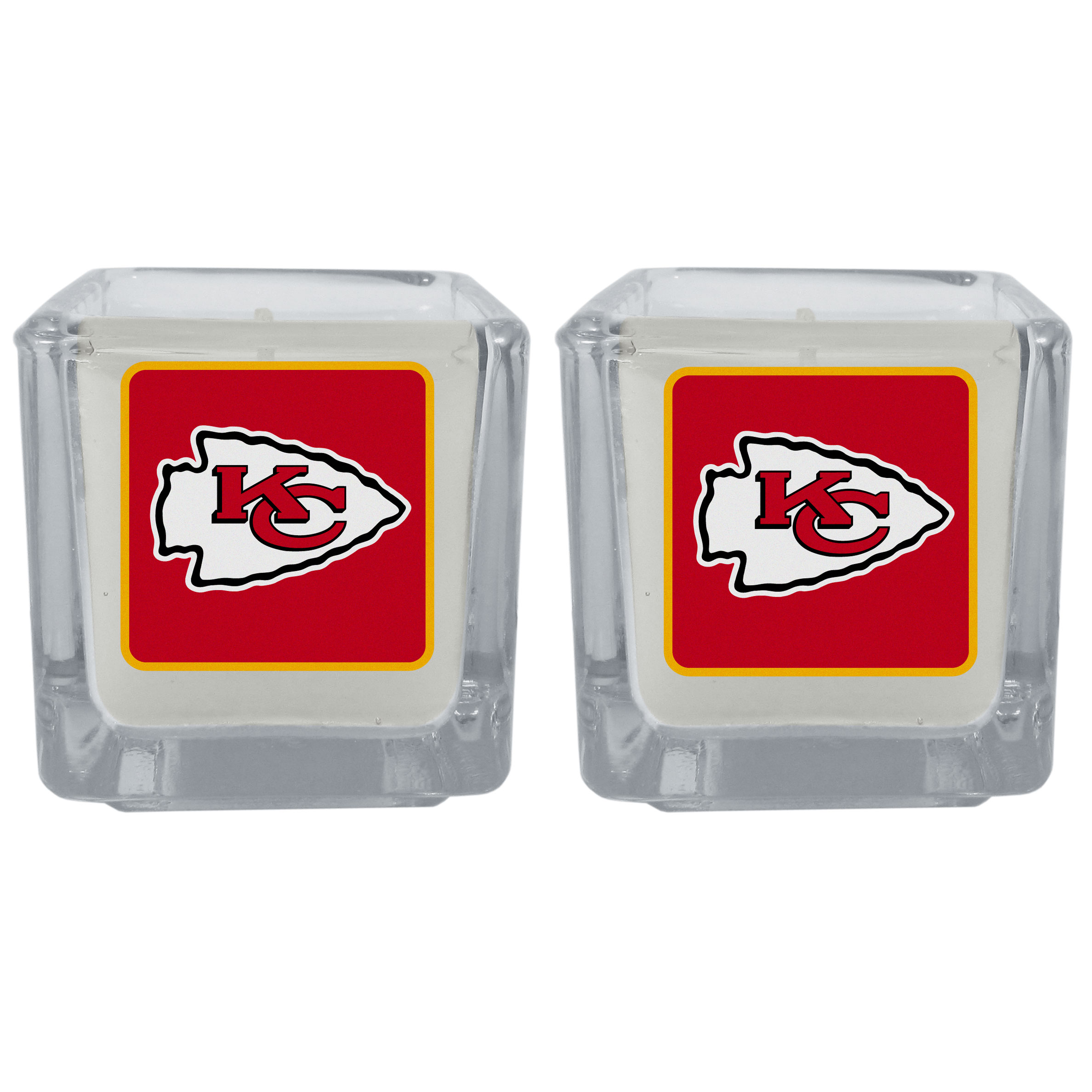 Kansas City Chiefs Graphics Candle Set - Our candle set features 2 lightly vanilla scented candles with the Kansas City Chiefs logo expertly printed on front. The candles are 2 inches tall in the votive style.