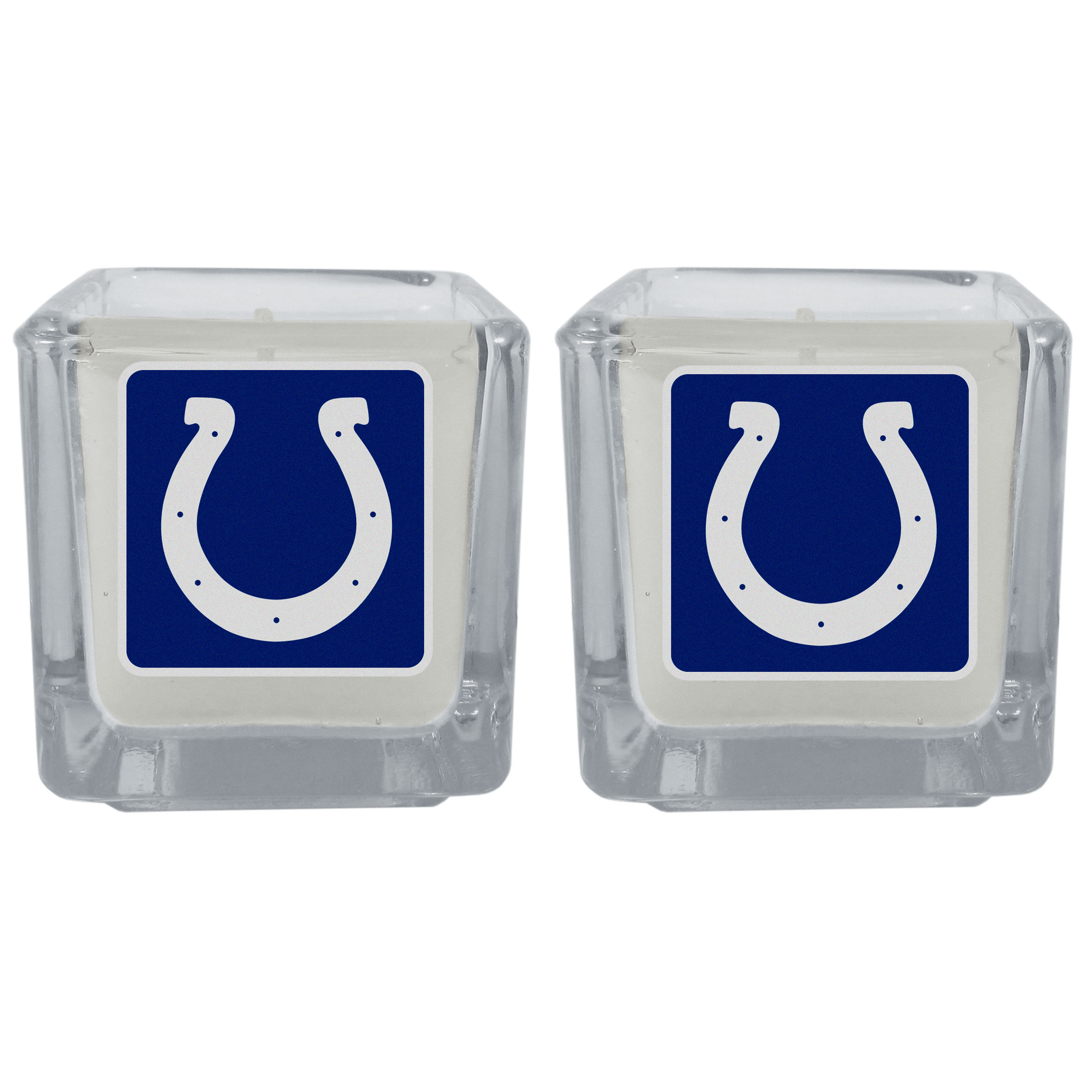 Indianapolis Colts Graphics Candle Set - Our candle set features 2 lightly vanilla scented candles with the Indianapolis Colts logo expertly printed on front. The candles are 2 inches tall in the votive style.