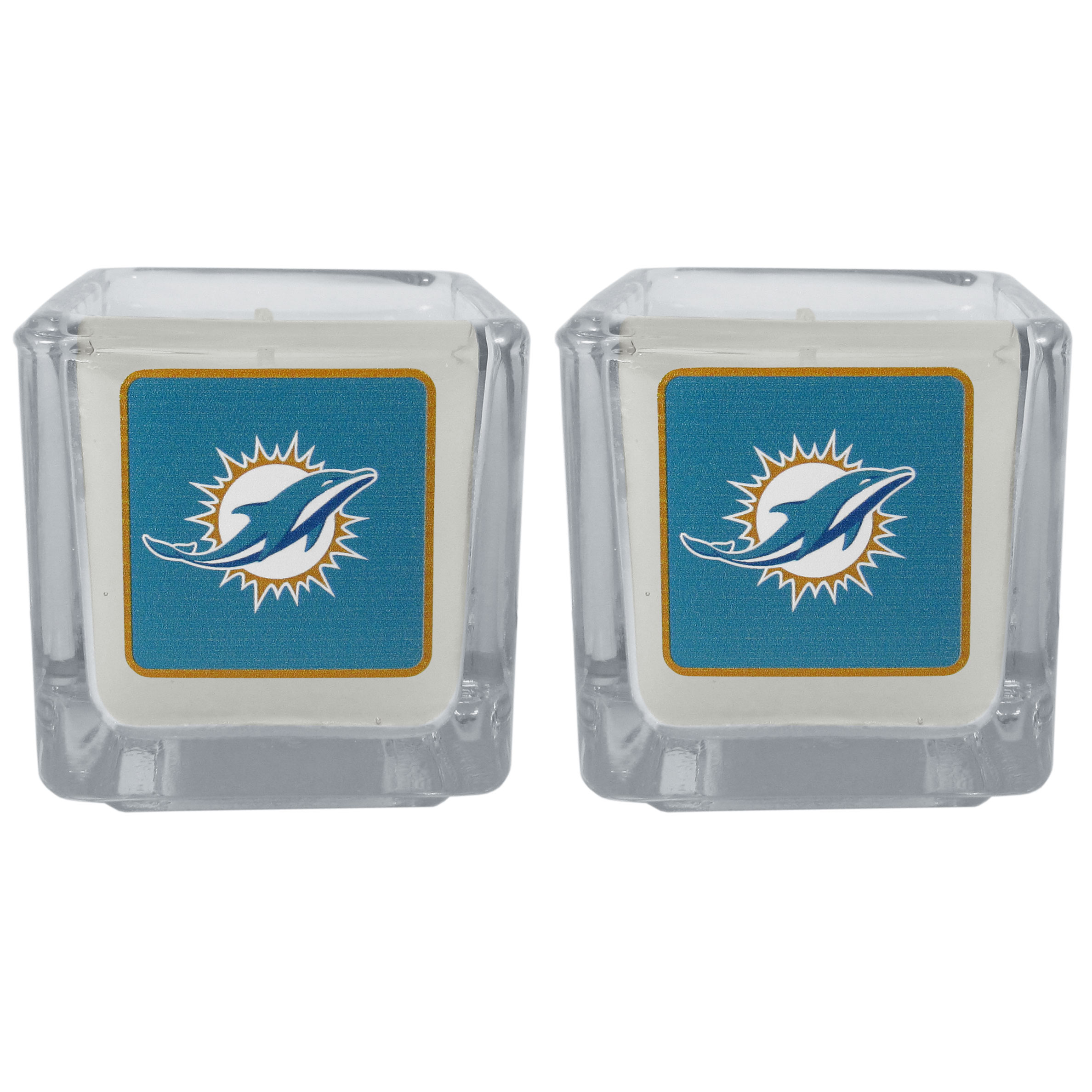 Miami Dolphins Graphics Candle Set - Our candle set features 2 lightly vanilla scented candles with the Miami Dolphins logo expertly printed on front. The candles are 2 inches tall in the votive style.