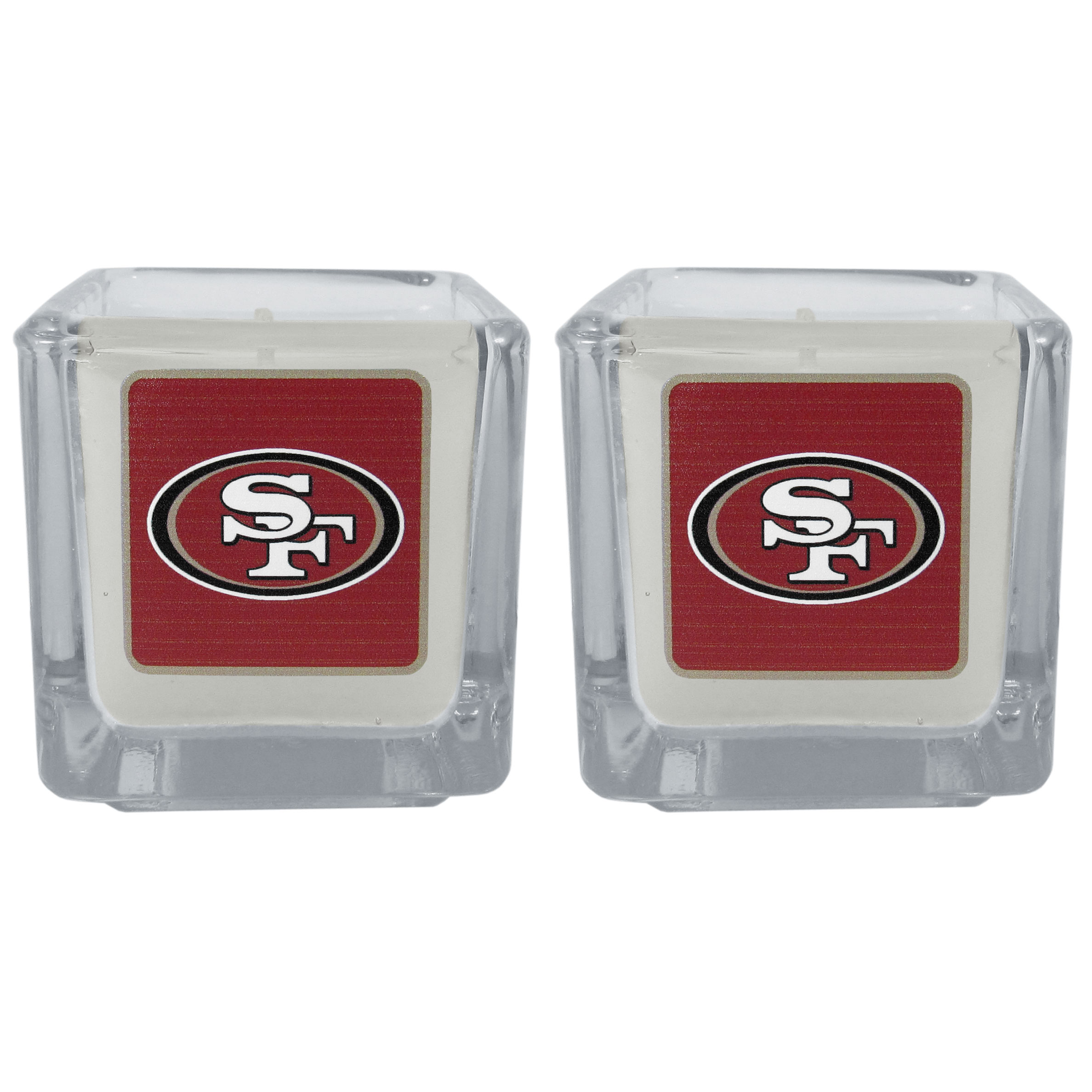 San Francisco 49ers Graphics Candle Set - Our candle set features 2 lightly vanilla scented candles with the San Francisco 49ers logo expertly printed on front. The candles are 2 inches tall in the votive style.