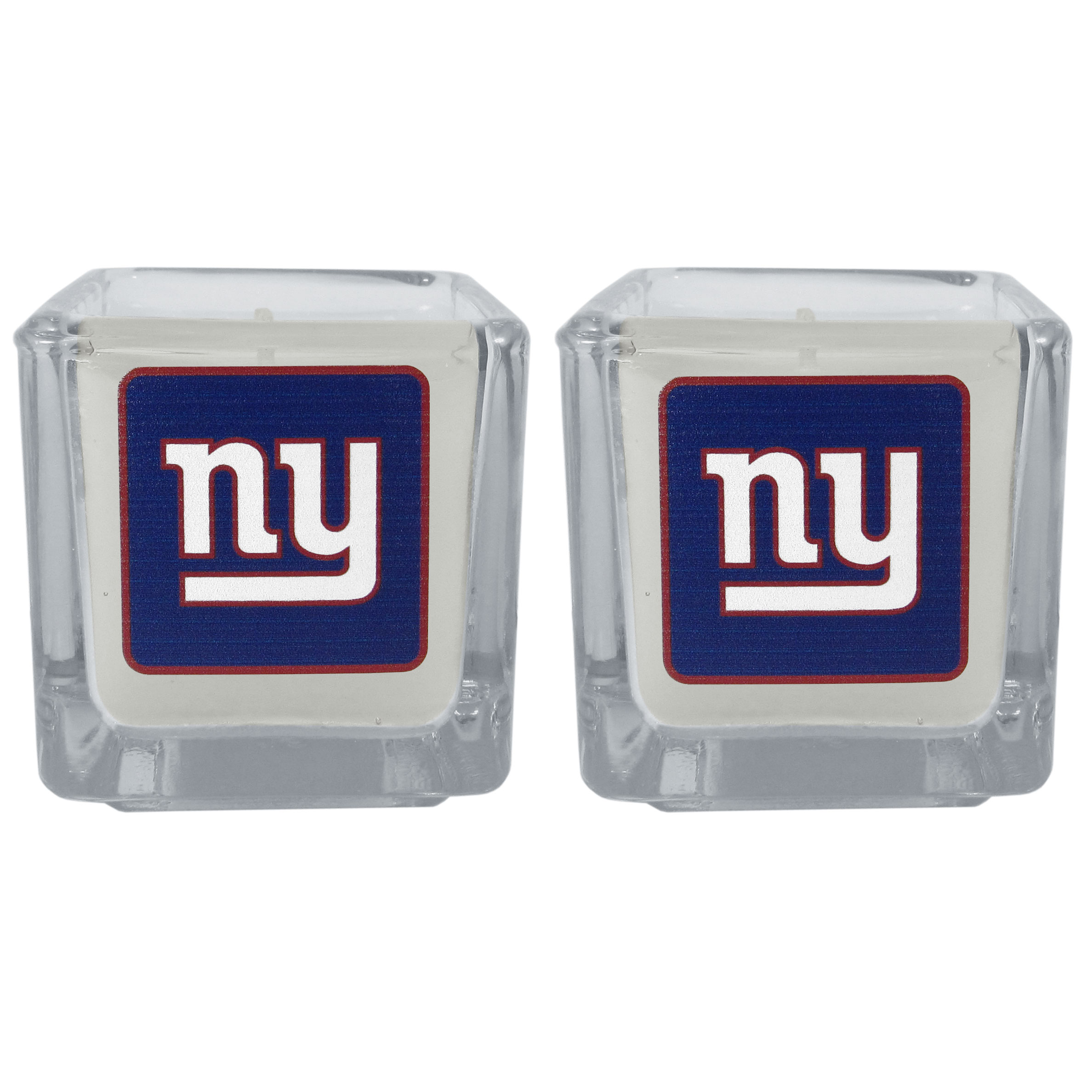 New York Giants Graphics Candle Set - Our candle set features 2 lightly vanilla scented candles with the New York Giants logo expertly printed on front. The candles are 2 inches tall in the votive style.