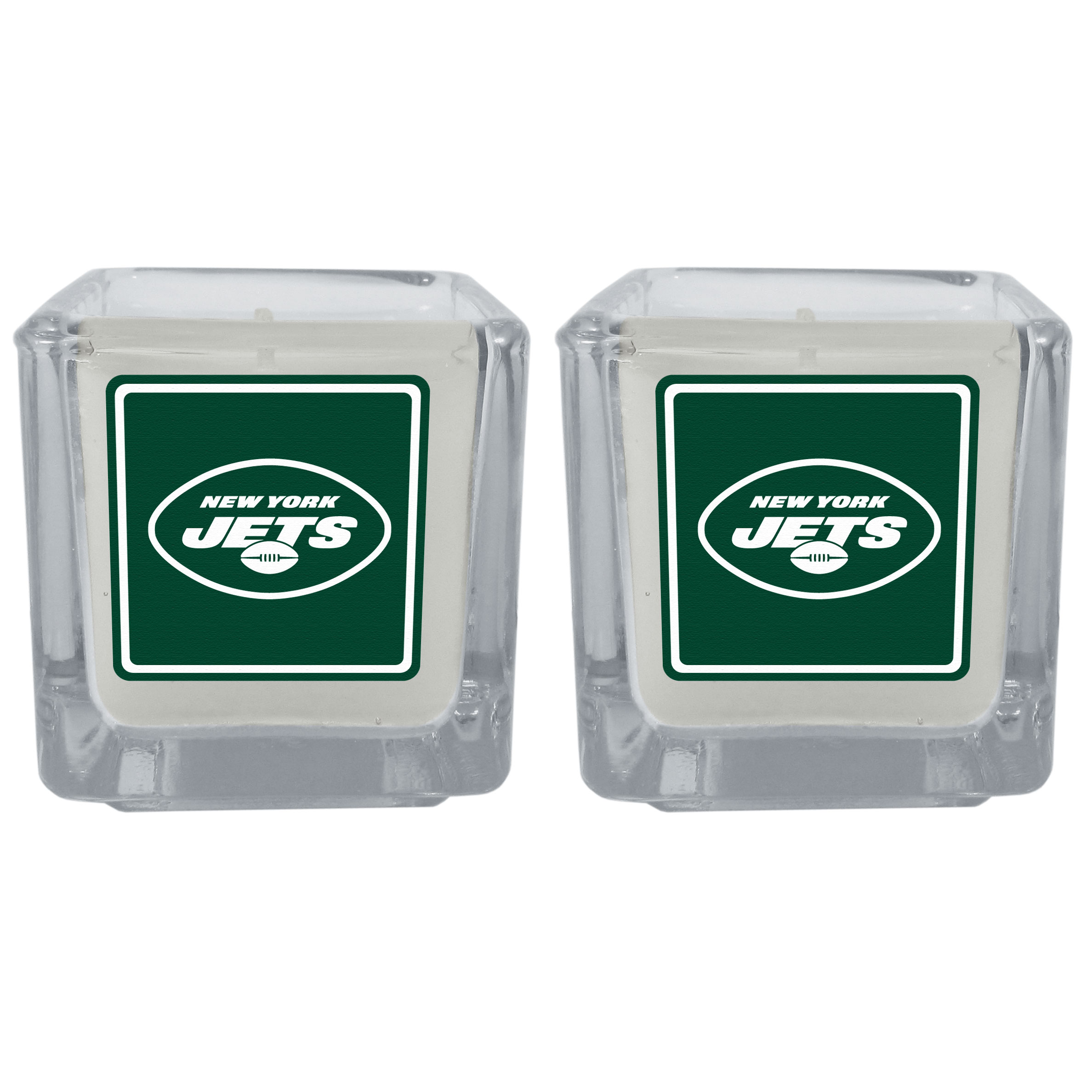 New York Jets Graphics Candle Set - Our candle set features 2 lightly vanilla scented candles with the New York Jets logo expertly printed on front. The candles are 2 inches tall in the votive style.