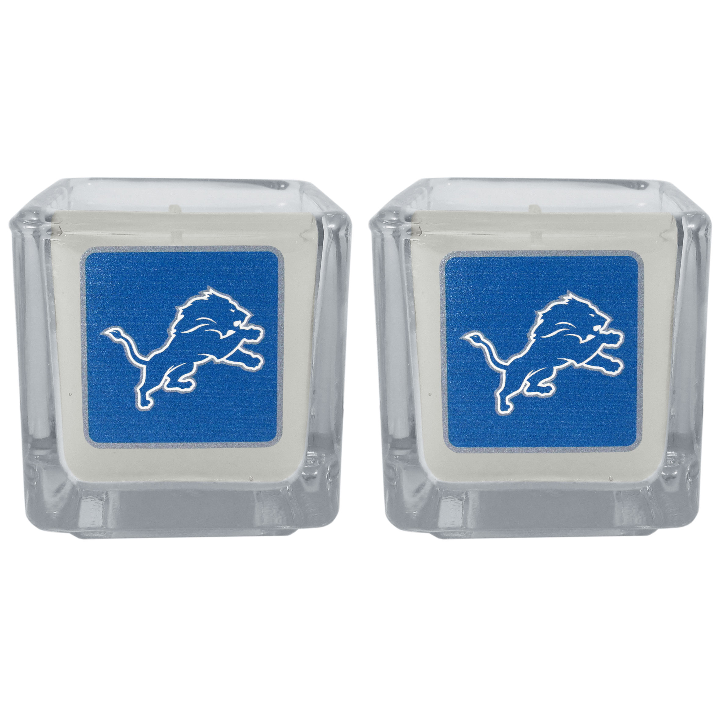 Detroit Lions Graphics Candle Set - Our candle set features 2 lightly vanilla scented candles with the Detroit Lions logo expertly printed on front. The candles are 2 inches tall in the votive style.