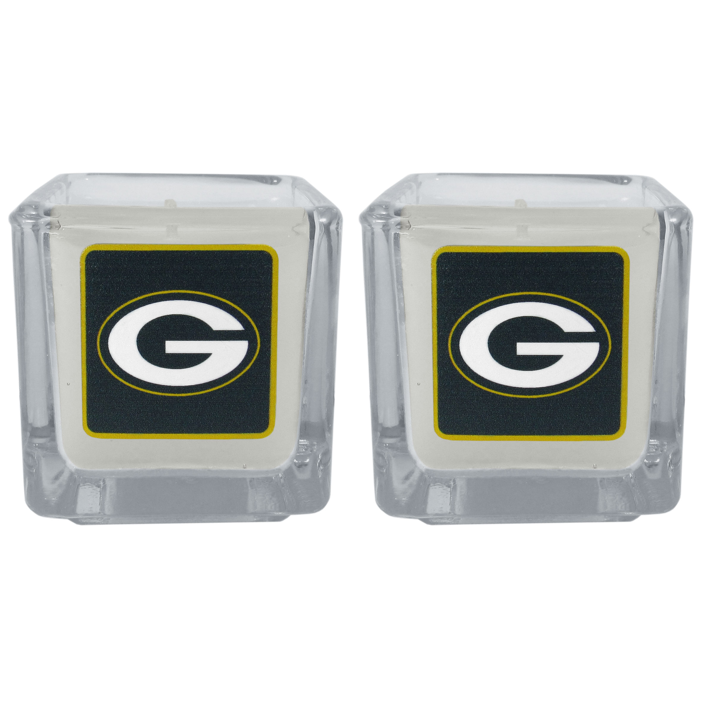 Green Bay Packers Graphics Candle Set - Our candle set features 2 lightly vanilla scented candles with the Green Bay Packers logo expertly printed on front. The candles are 2 inches tall in the votive style.