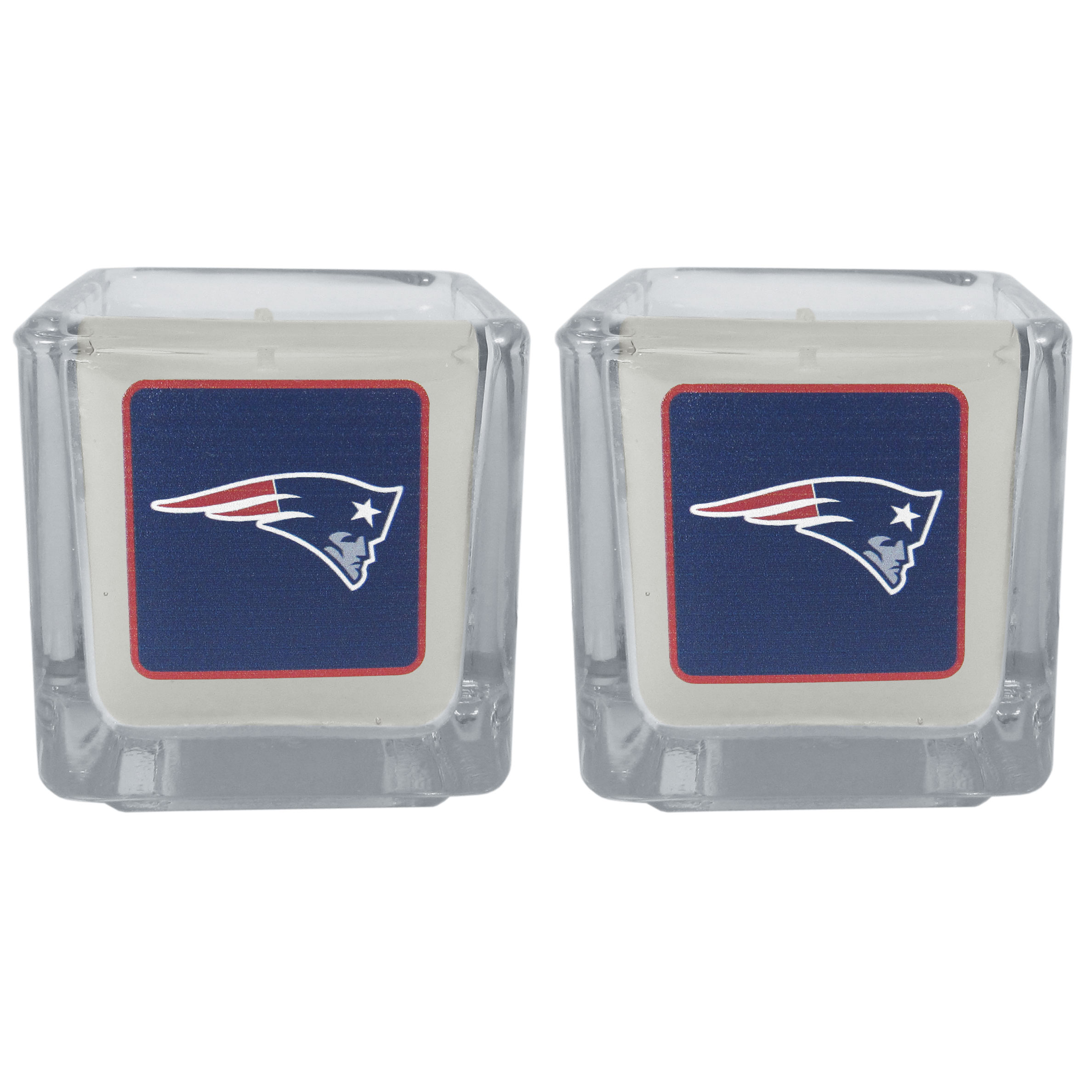 New England Patriots Graphics Candle Set - Our candle set features 2 lightly vanilla scented candles with the New England Patriots logo expertly printed on front. The candles are 2 inches tall in the votive style.