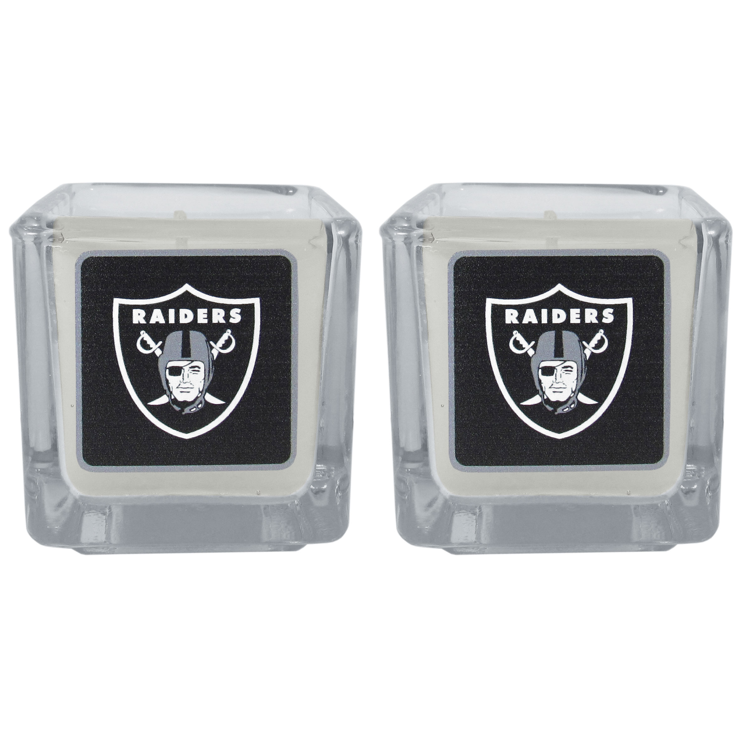 Oakland Raiders Graphics Candle Set - Our candle set features 2 lightly vanilla scented candles with the Oakland Raiders logo expertly printed on front. The candles are 2 inches tall in the votive style.