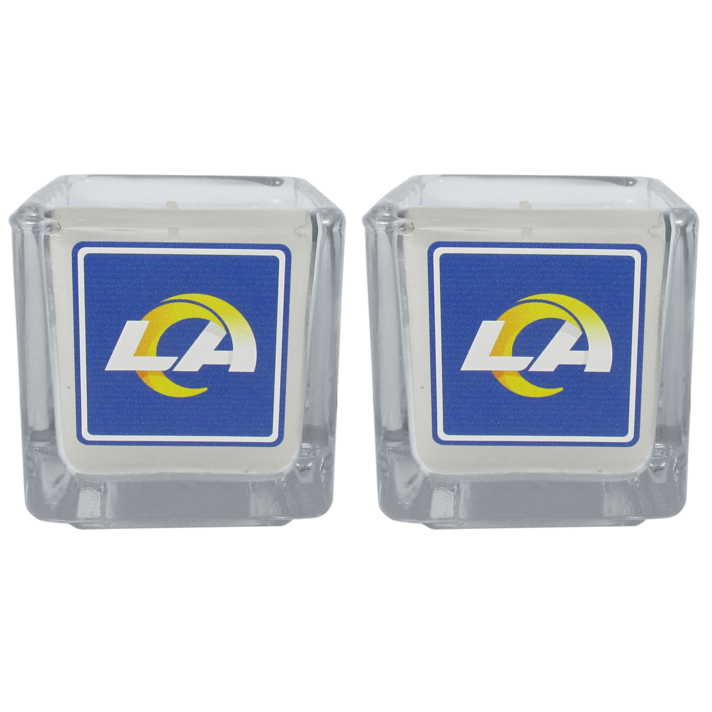 Los Angeles Rams Graphics Candle Set - Our candle set features 2 lightly vanilla scented candles with the Los Angeles Rams logo expertly printed on front. The candles are 2 inches tall in the votive style.
