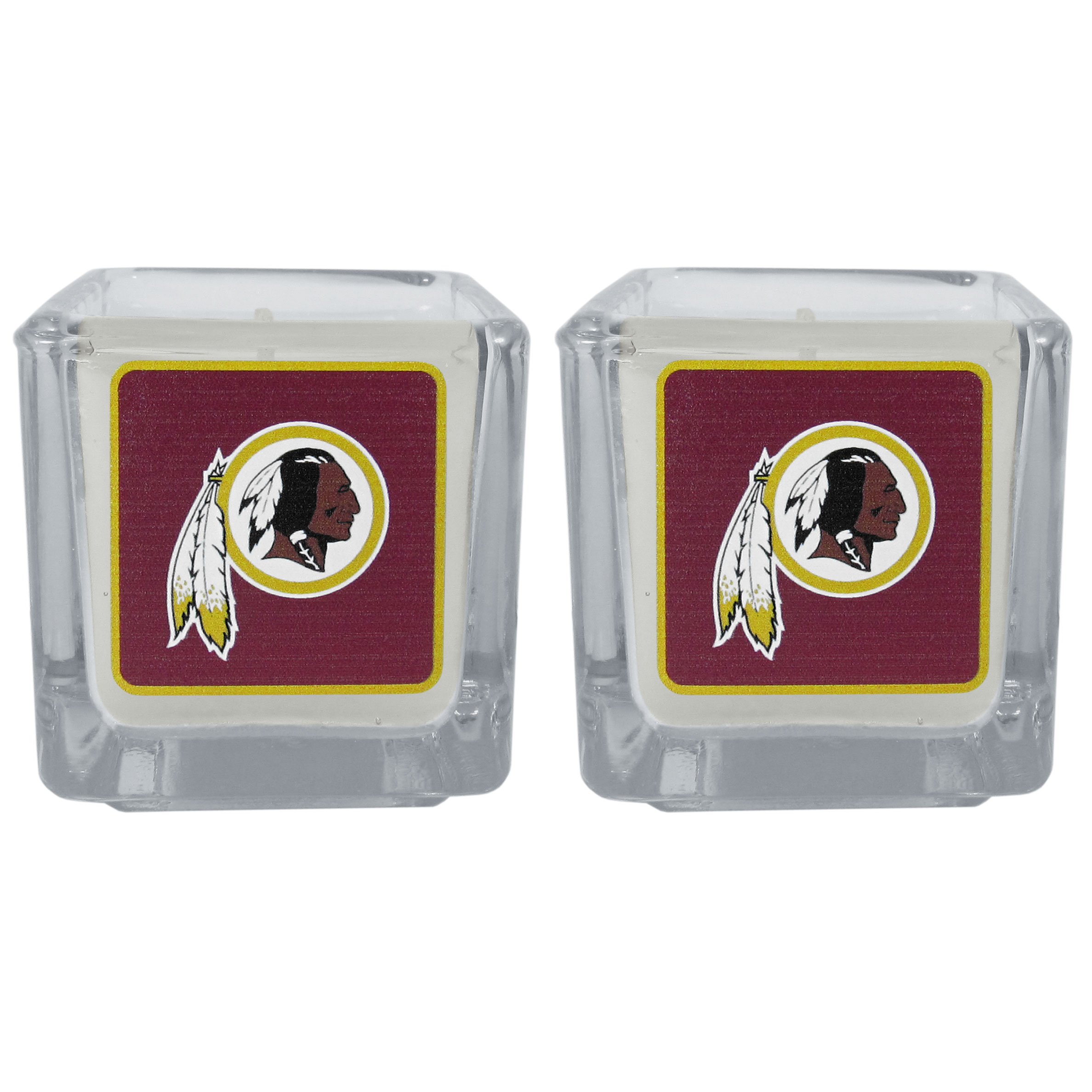 Washington Redskins Graphics Candle Set - Our candle set features 2 lightly vanilla scented candles with the Washington Redskins logo expertly printed on front. The candles are 2 inches tall in the votive style.
