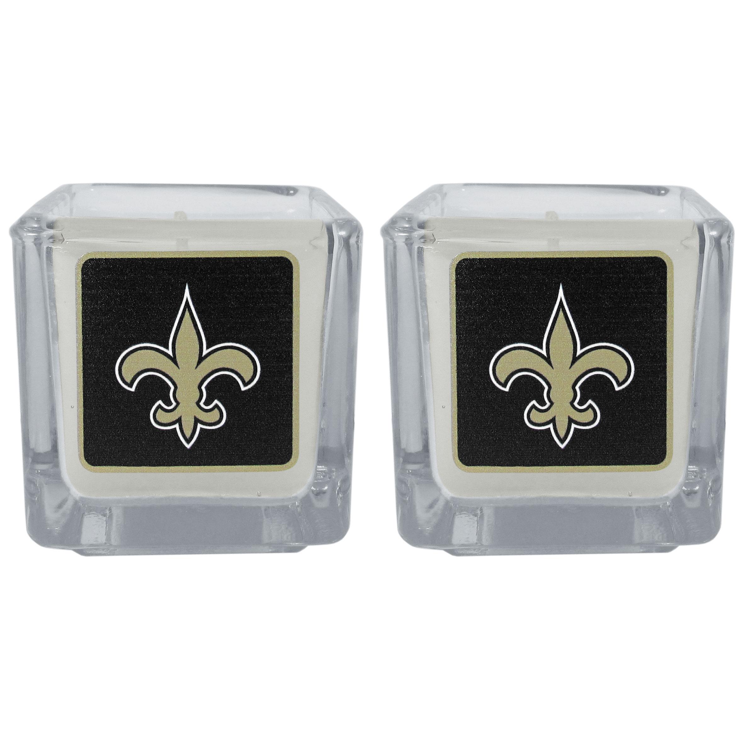 New Orleans Saints Graphics Candle Set - Our candle set features 2 lightly vanilla scented candles with the New Orleans Saints logo expertly printed on front. The candles are 2 inches tall in the votive style.