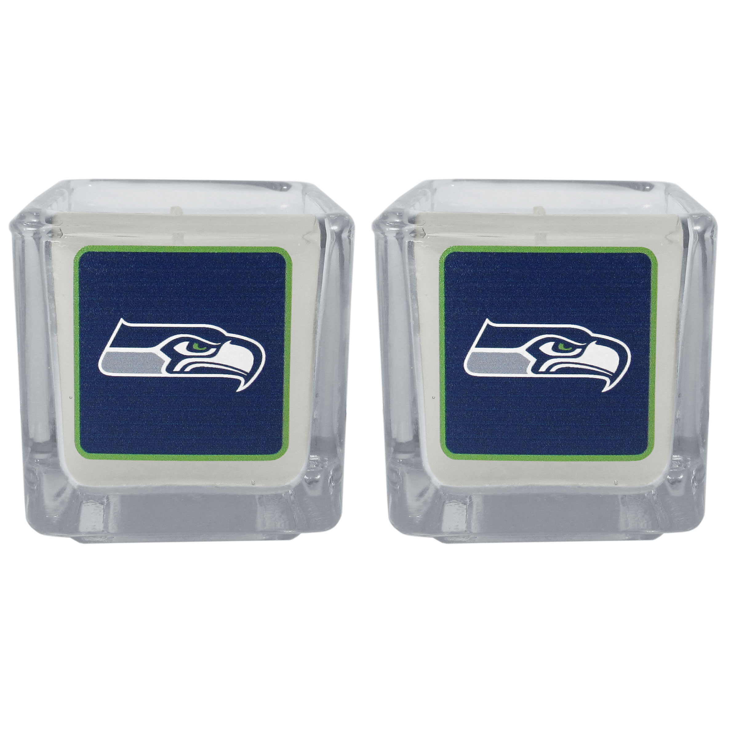 Seattle Seahawks Graphics Candle Set - Our candle set features 2 lightly vanilla scented candles with the Seattle Seahawks logo expertly printed on front. The candles are 2 inches tall in the votive style.