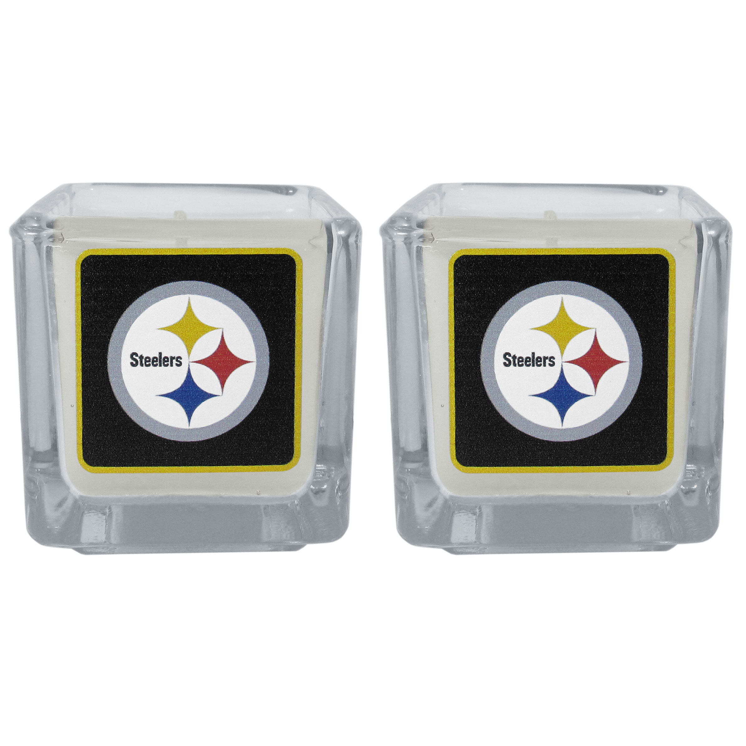 Pittsburgh Steelers Graphics Candle Set - Our candle set features 2 lightly vanilla scented candles with the Pittsburgh Steelers logo expertly printed on front. The candles are 2 inches tall in the votive style.