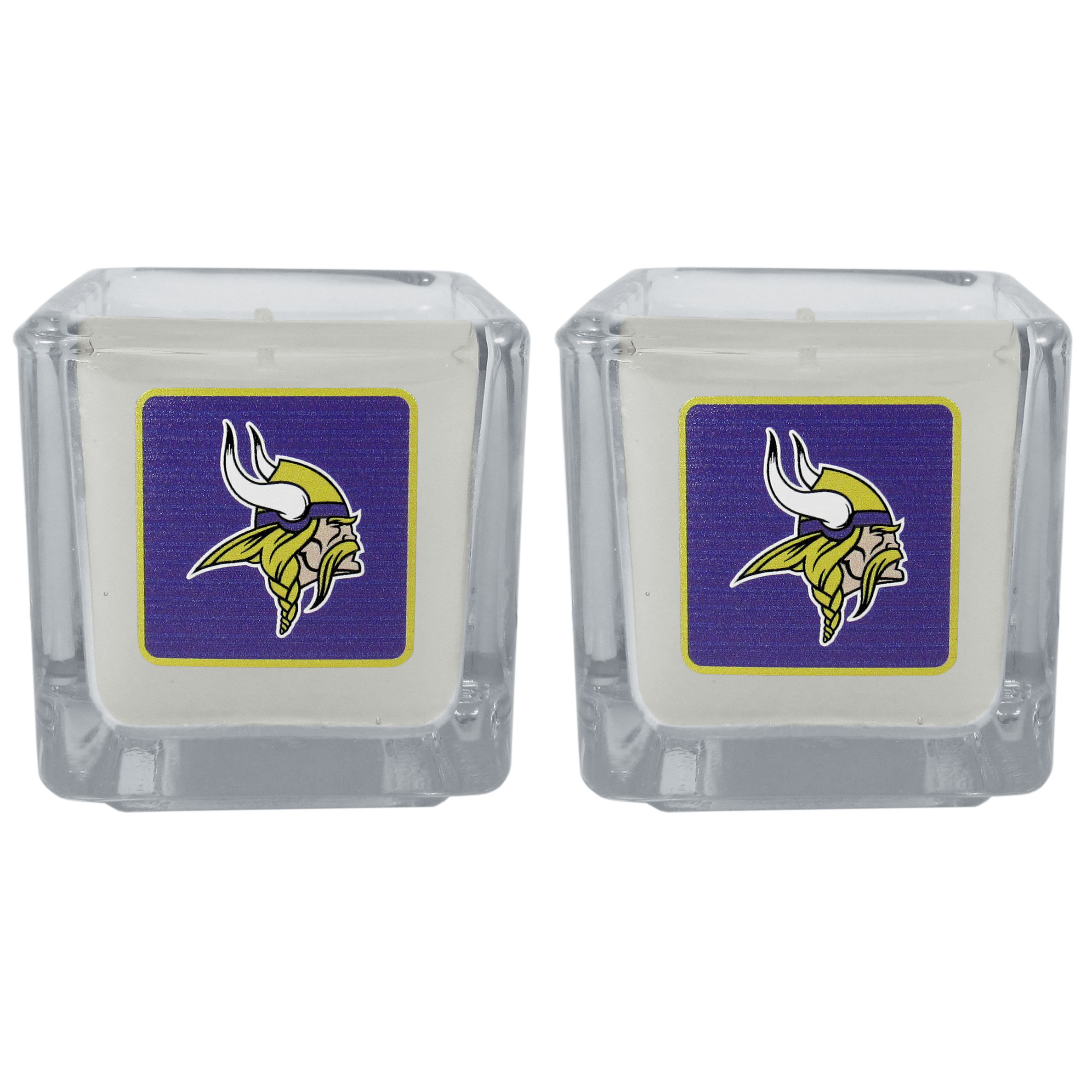 Minnesota Vikings Graphics Candle Set - Our candle set features 2 lightly vanilla scented candles with the Minnesota Vikings logo expertly printed on front. The candles are 2 inches tall in the votive style.