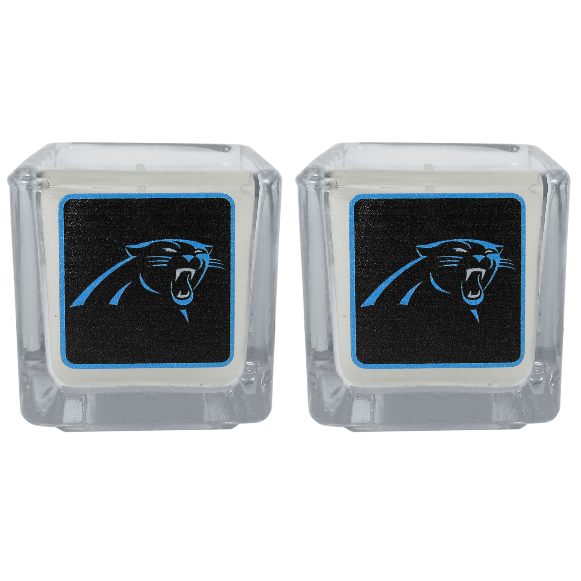Carolina Panthers Graphics Candle Set - Our candle set features 2 lightly vanilla scented candles with the Carolina Panthers logo expertly printed on front. The candles are 2 inches tall in the votive style.