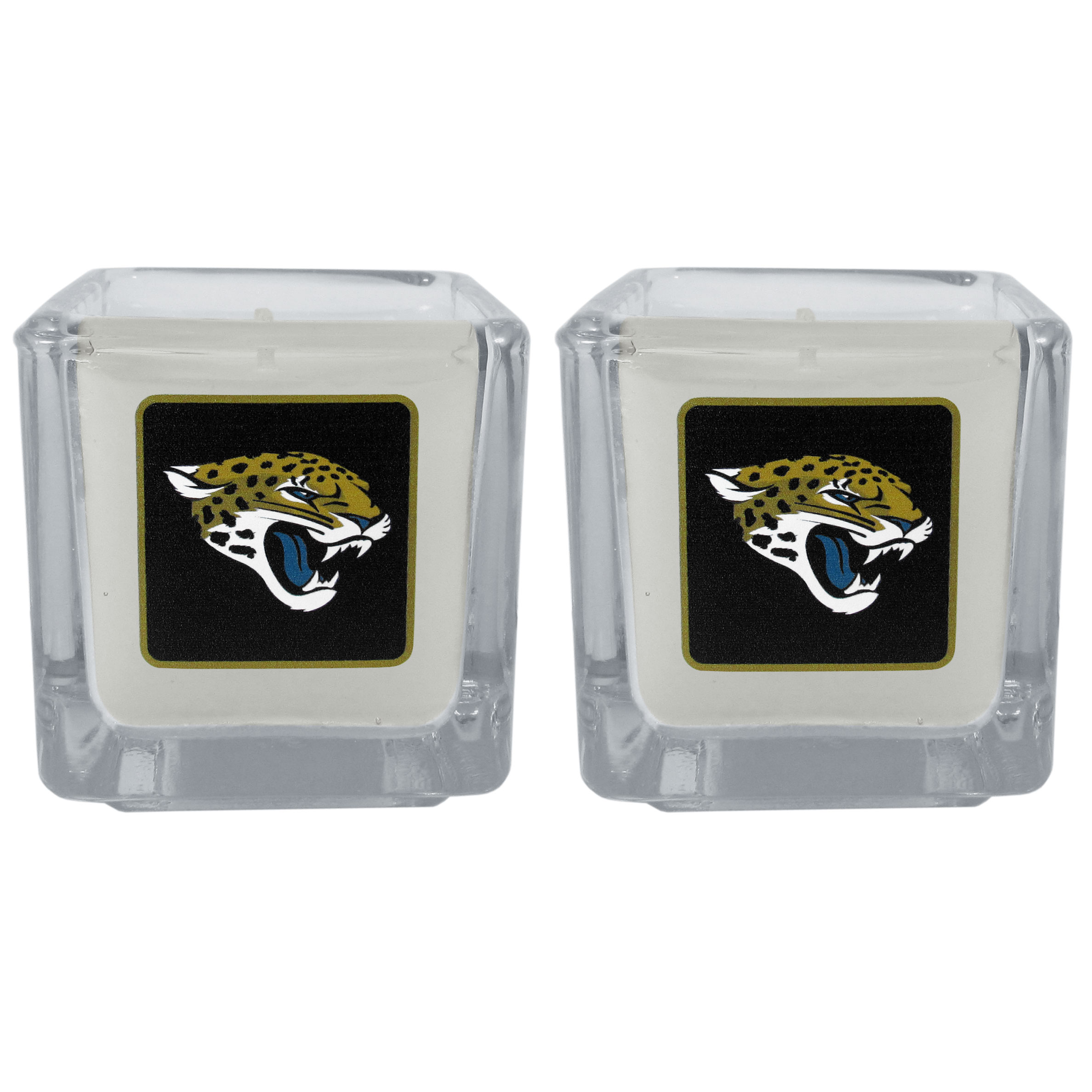 Jacksonville Jaguars Graphics Candle Set - Our candle set features 2 lightly vanilla scented candles with the Jacksonville Jaguars logo expertly printed on front. The candles are 2 inches tall in the votive style.
