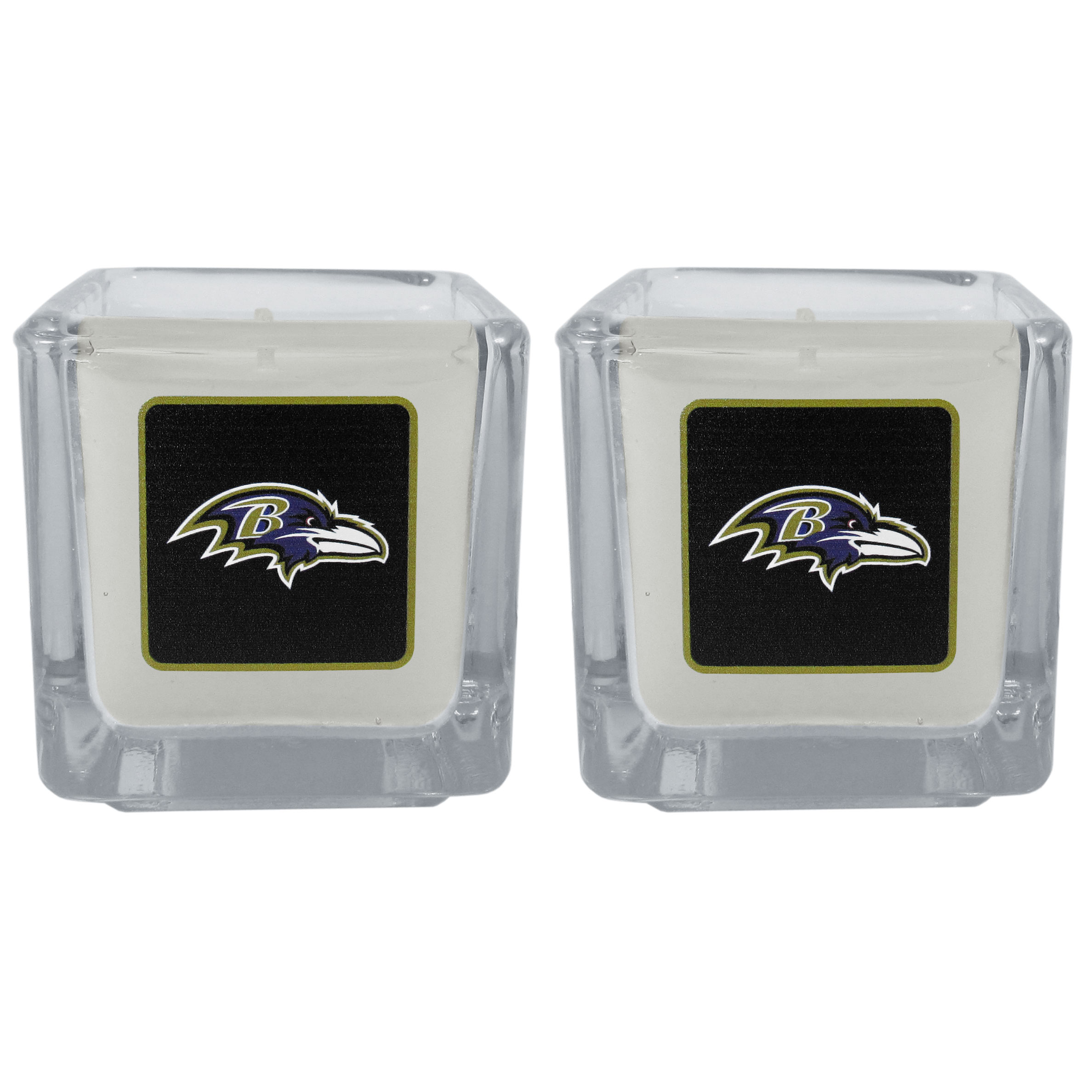 Baltimore Ravens Graphics Candle Set - Our candle set features 2 lightly vanilla scented candles with the Baltimore Ravens logo expertly printed on front. The candles are 2 inches tall in the votive style.