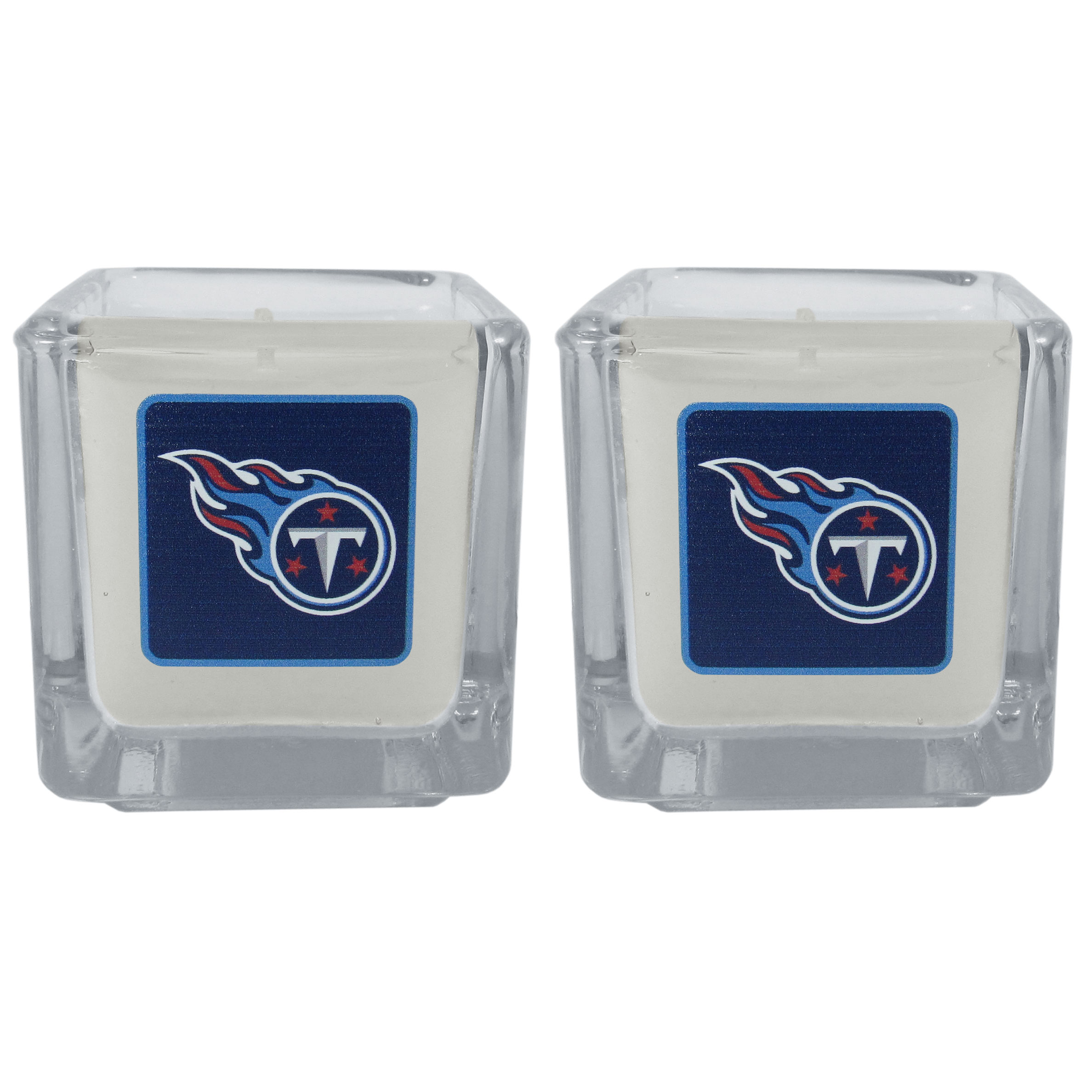 Tennessee Titans Graphics Candle Set - Our candle set features 2 lightly vanilla scented candles with the Tennessee Titans logo expertly printed on front. The candles are 2 inches tall in the votive style.