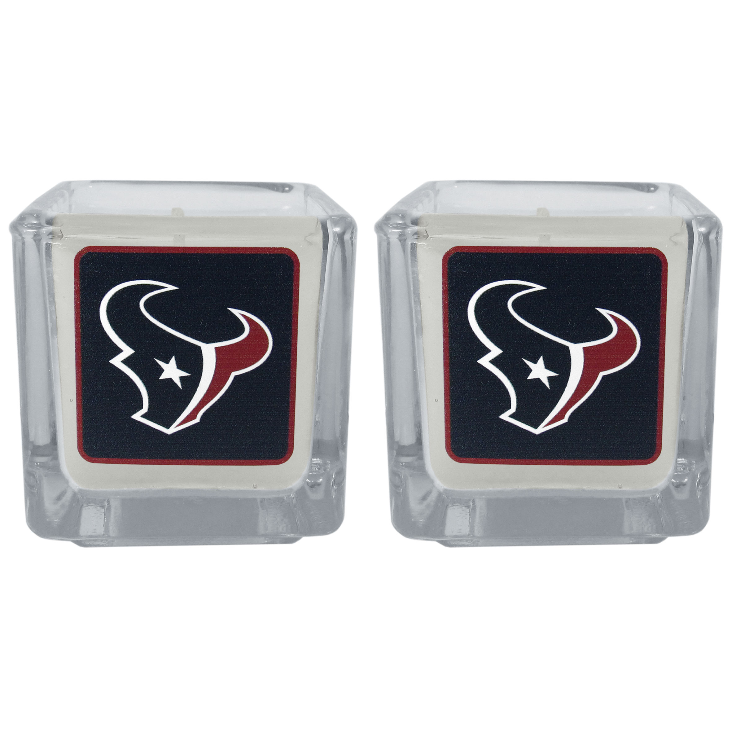 Houston Texans Graphics Candle Set - Our candle set features 2 lightly vanilla scented candles with the Houston Texans logo expertly printed on front. The candles are 2 inches tall in the votive style.