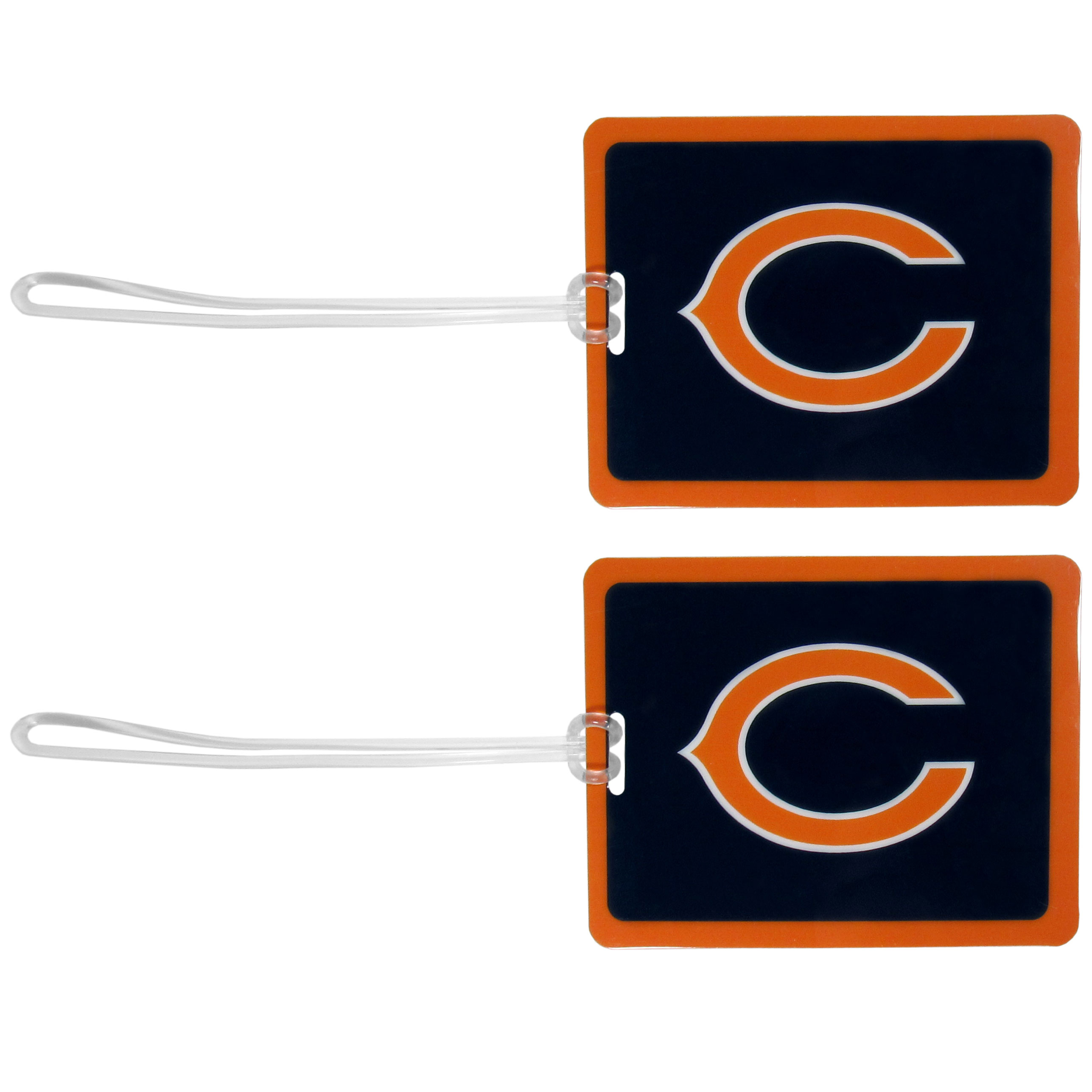 Chicago Bears Vinyl Luggage Tag, 2pk - Tired of trying to spot your suitcase or bag in a sea of luggage? Try our large and colorful Chicago Bears luggage tags. The tag is 4x3 inches and has a 5 inch cord to attach it easily to your bags, backpacks or luggage. The front of the tag features the team logo in a bright, team colored background and you can write you name, address and phone number on the back of the tag.