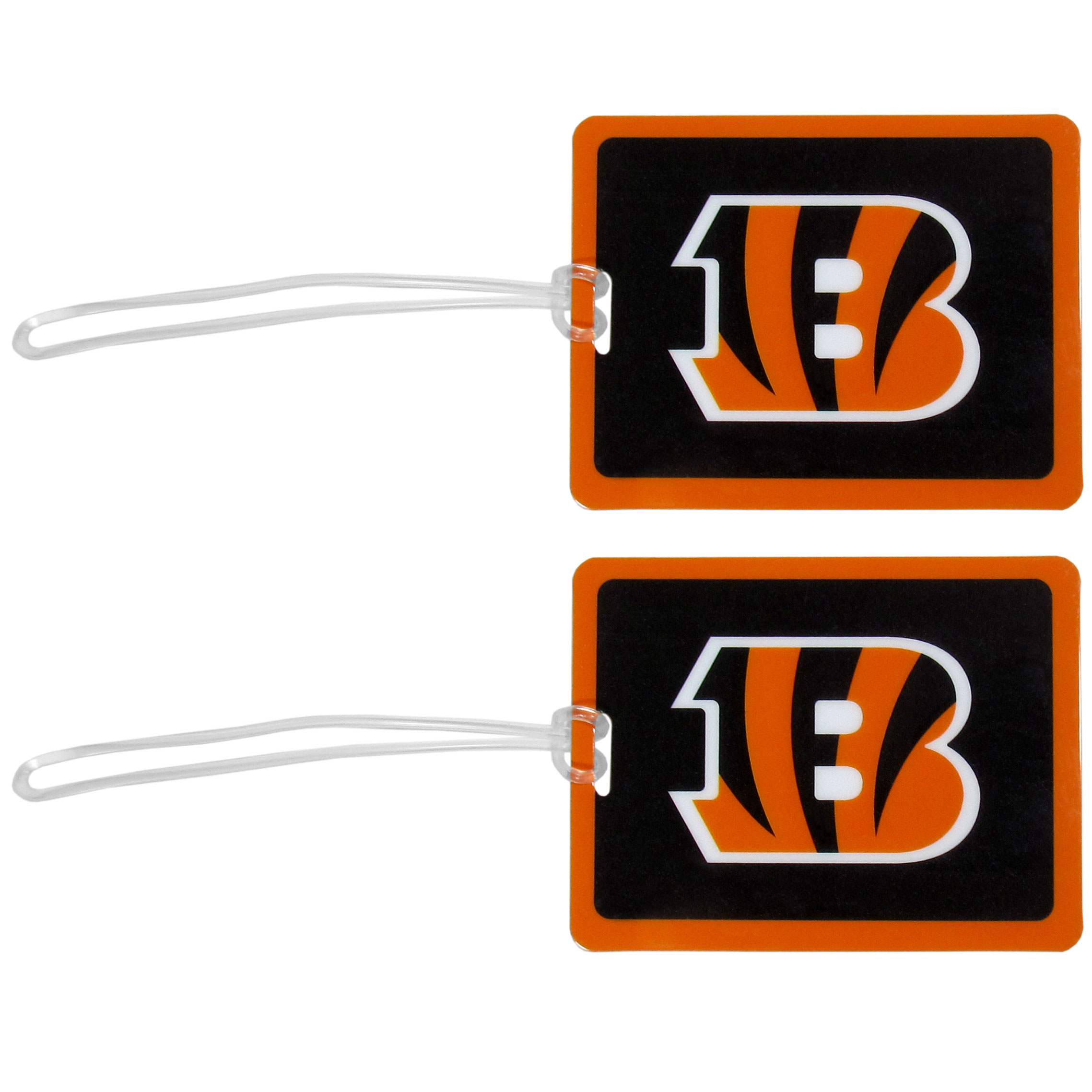 Cincinnati Bengals Vinyl Luggage Tag, 2pk - Tired of trying to spot your suitcase or bag in a sea of luggage? Try our large and colorful Cincinnati Bengals luggage tags. The tag is 4x3 inches and has a 5 inch cord to attach it easily to your bags, backpacks or luggage. The front of the tag features the team logo in a bright, team colored background and you can write you name, address and phone number on the back of the tag.