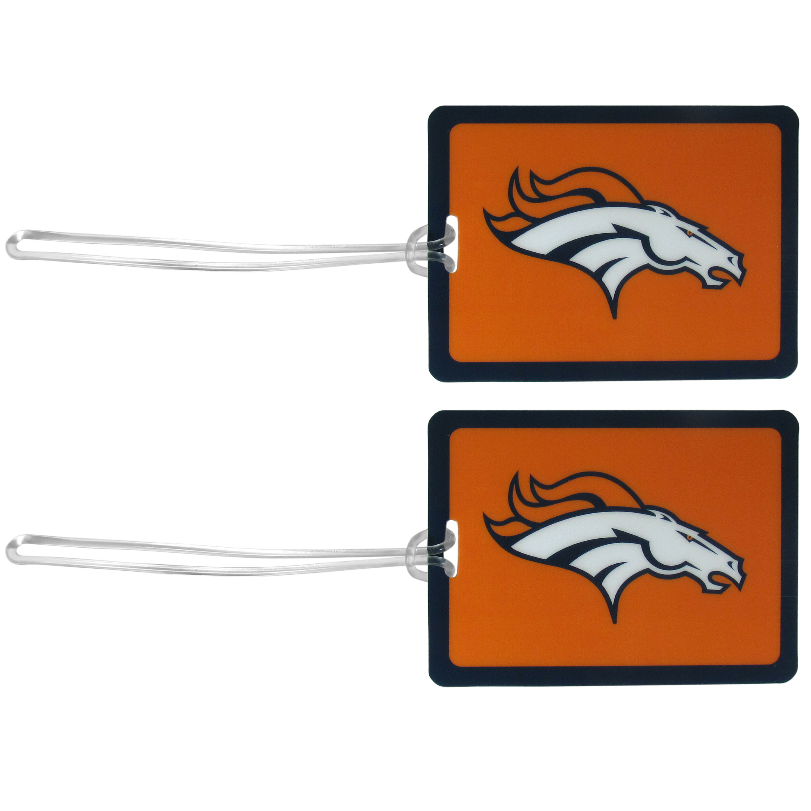 Denver Broncos Vinyl Luggage Tag, 2pk - Tired of trying to spot your suitcase or bag in a sea of luggage? Try our large and colorful Denver Broncos luggage tags. The tag is 4x3 inches and has a 5 inch cord to attach it easily to your bags, backpacks or luggage. The front of the tag features the team logo in a bright, team colored background and you can write you name, address and phone number on the back of the tag.