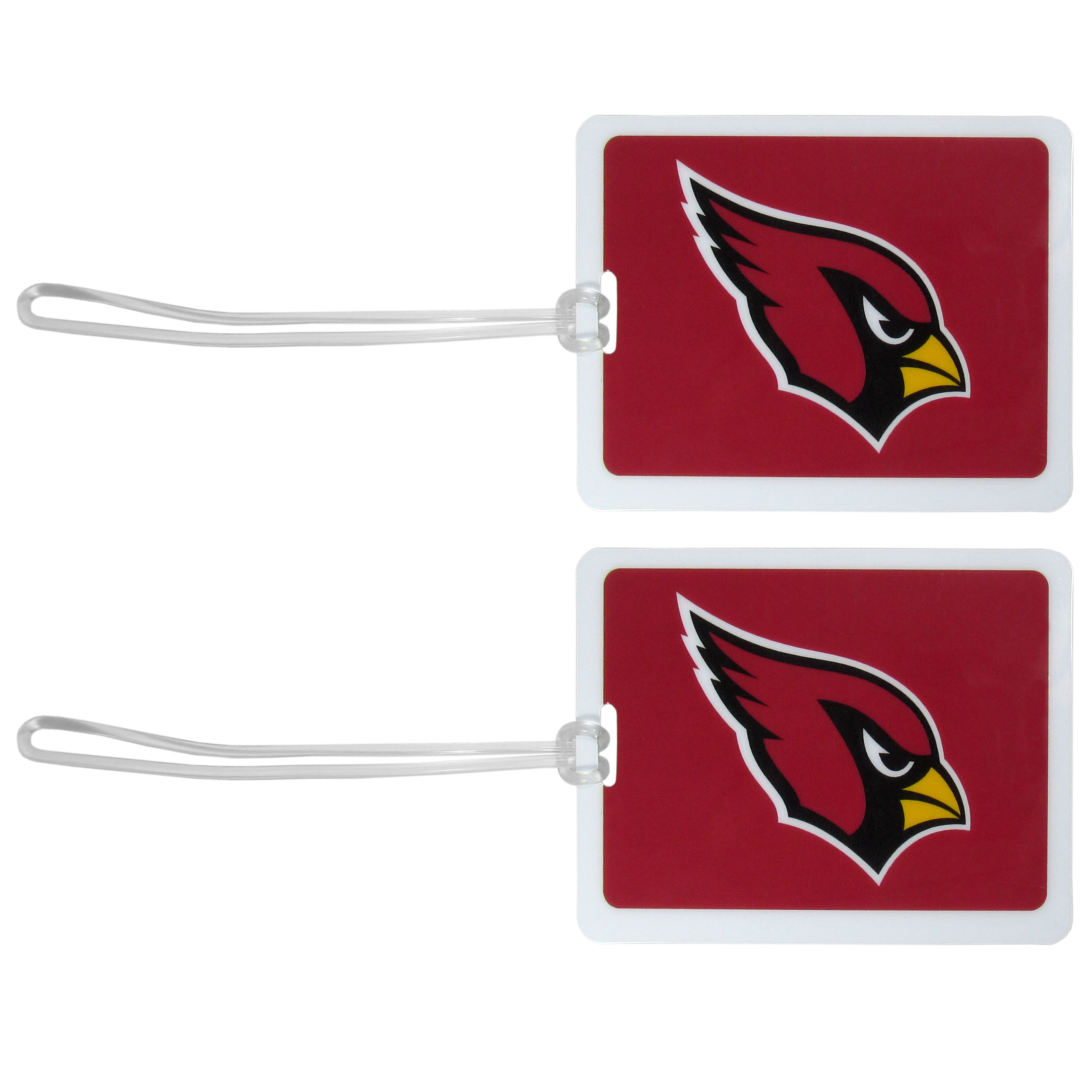 Arizona Cardinals Vinyl Luggage Tag, 2pk - Tired of trying to spot your suitcase or bag in a sea of luggage? Try our large and colorful Arizona Cardinals luggage tags. The tag is 4x3 inches and has a 5 inch cord to attach it easily to your bags, backpacks or luggage. The front of the tag features the team logo in a bright, team colored background and you can write you name, address and phone number on the back of the tag.