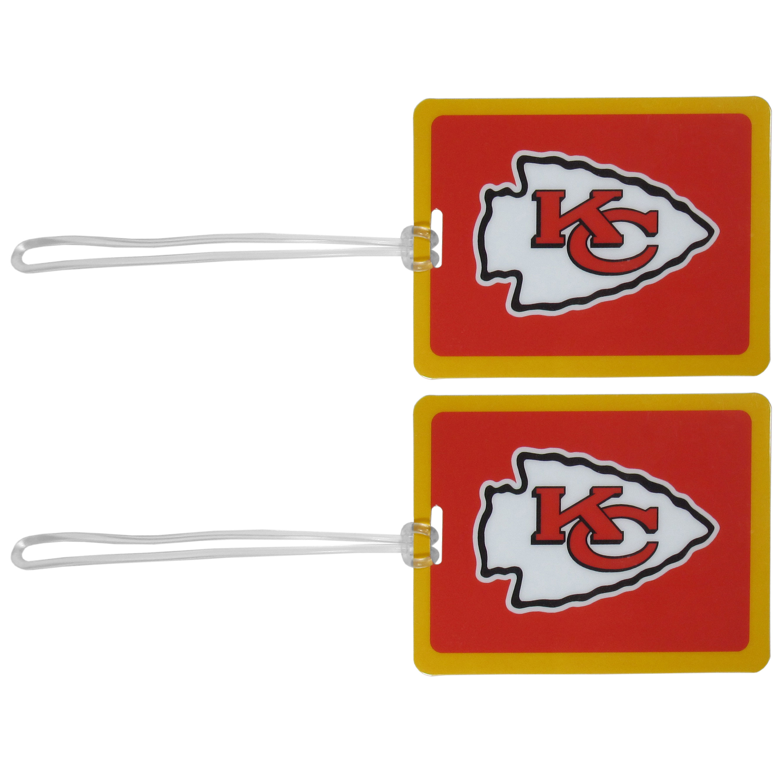 Kansas City Chiefs Vinyl Luggage Tag, 2pk - Tired of trying to spot your suitcase or bag in a sea of luggage? Try our large and colorful Kansas City Chiefs luggage tags. The tag is 4x3 inches and has a 5 inch cord to attach it easily to your bags, backpacks or luggage. The front of the tag features the team logo in a bright, team colored background and you can write you name, address and phone number on the back of the tag.