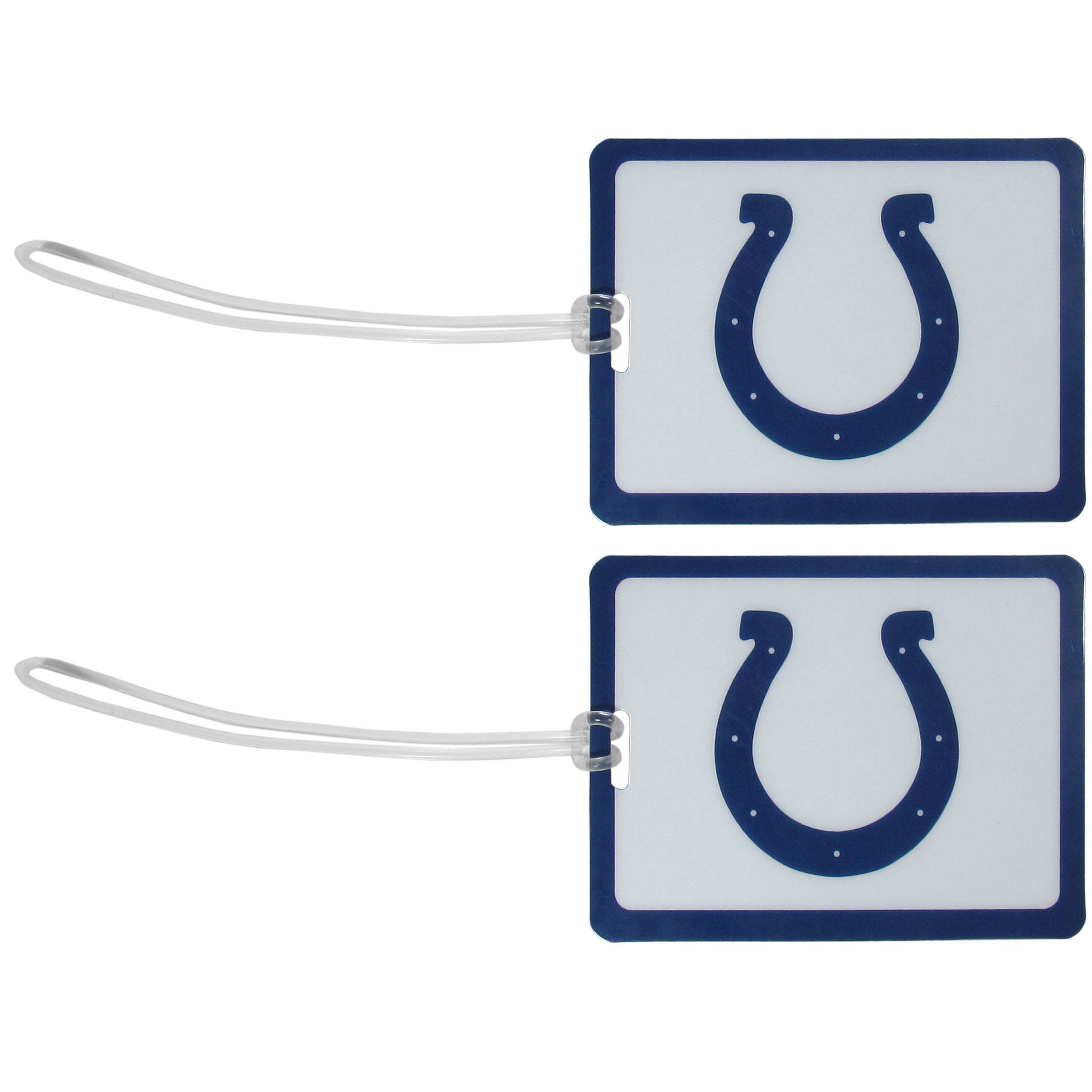 Indianapolis Colts Vinyl Luggage Tag, 2pk - Tired of trying to spot your suitcase or bag in a sea of luggage? Try our large and colorful Indianapolis Colts luggage tags. The tag is 4x3 inches and has a 5 inch cord to attach it easily to your bags, backpacks or luggage. The front of the tag features the team logo in a bright, team colored background and you can write you name, address and phone number on the back of the tag.