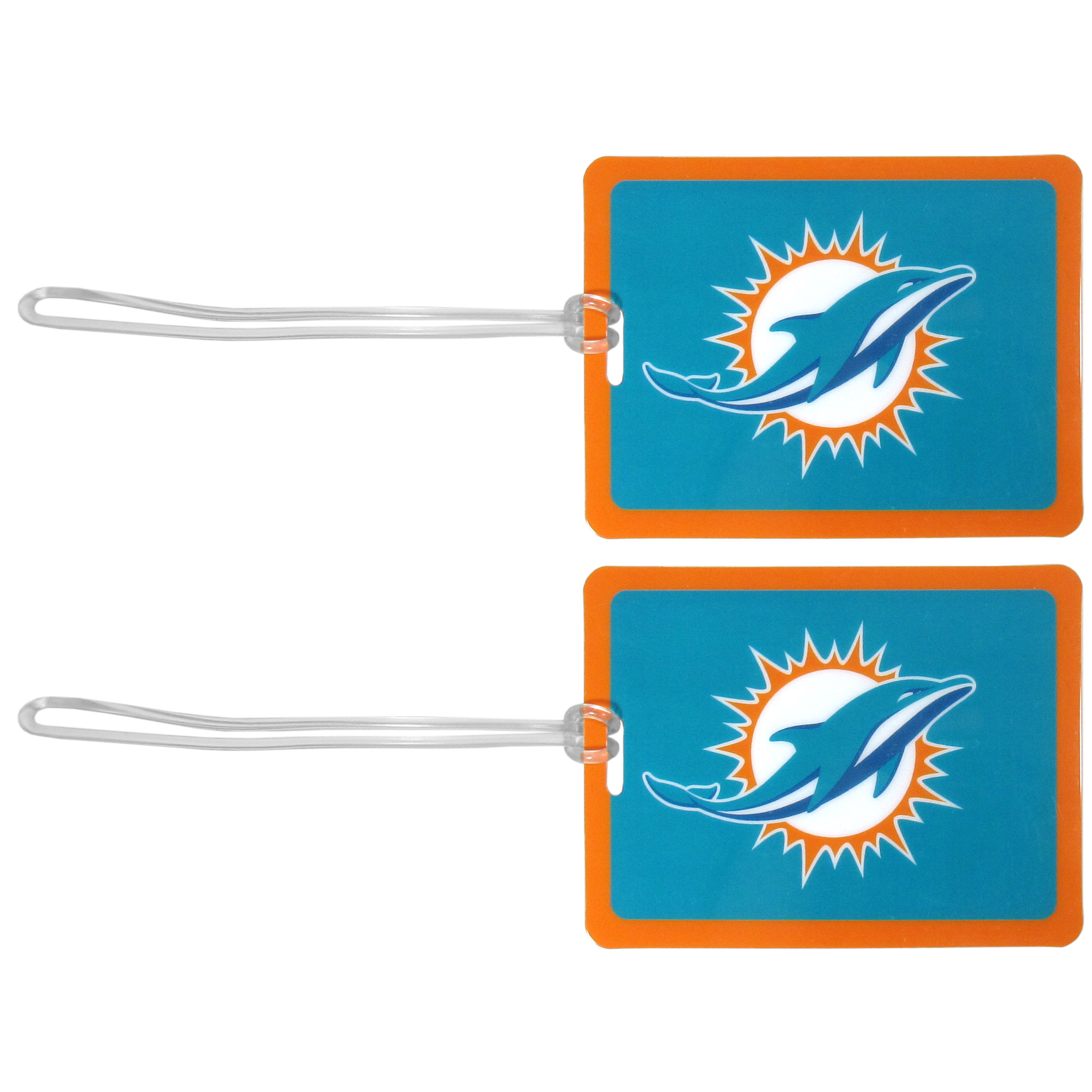 Miami Dolphins Vinyl Luggage Tag, 2pk - Tired of trying to spot your suitcase or bag in a sea of luggage? Try our large and colorful Miami Dolphins luggage tags. The tag is 4x3 inches and has a 5 inch cord to attach it easily to your bags, backpacks or luggage. The front of the tag features the team logo in a bright, team colored background and you can write you name, address and phone number on the back of the tag.