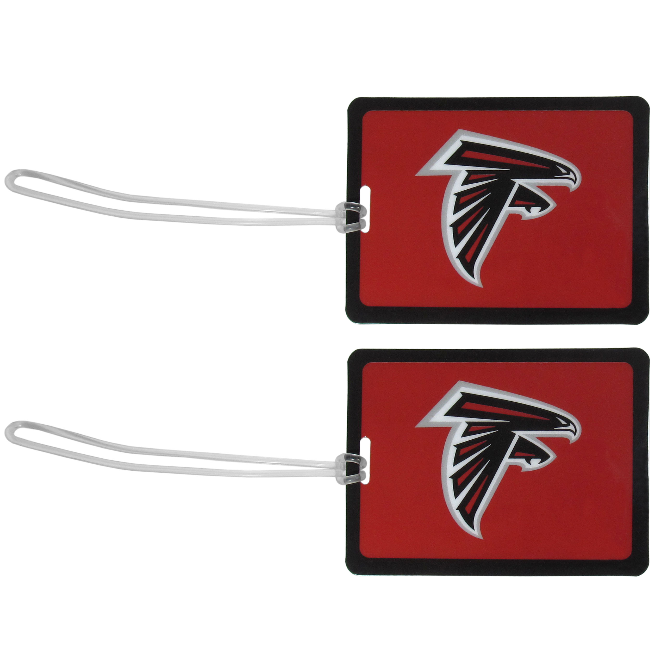 Atlanta Falcons Vinyl Luggage Tag, 2pk - Tired of trying to spot your suitcase or bag in a sea of luggage? Try our large and colorful Atlanta Falcons luggage tags. The tag is 4x3 inches and has a 5 inch cord to attach it easily to your bags, backpacks or luggage. The front of the tag features the team logo in a bright, team colored background and you can write you name, address and phone number on the back of the tag.