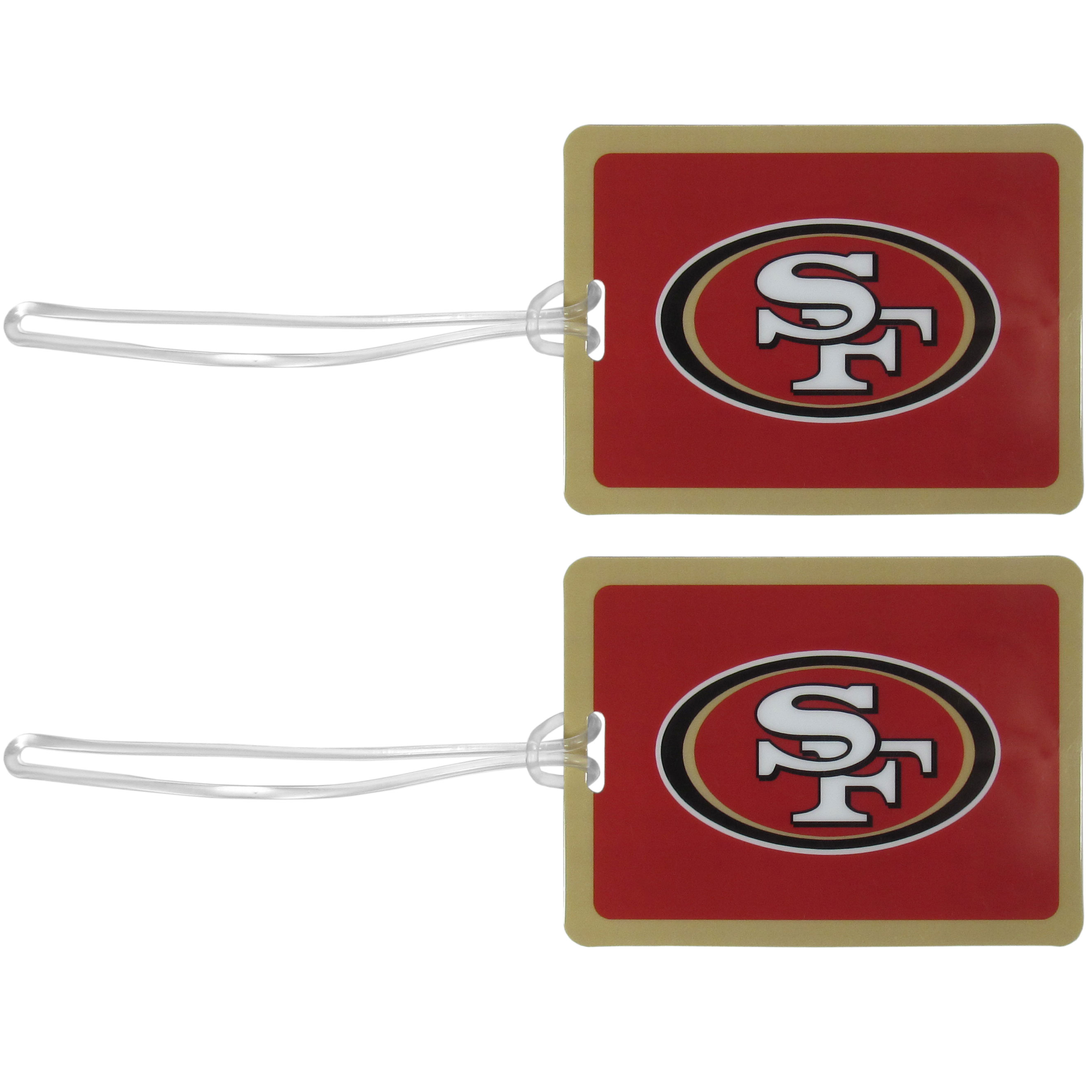San Francisco 49ers Vinyl Luggage Tag, 2pk - Tired of trying to spot your suitcase or bag in a sea of luggage? Try our large and colorful San Francisco 49ers luggage tags. The tag is 4x3 inches and has a 5 inch cord to attach it easily to your bags, backpacks or luggage. The front of the tag features the team logo in a bright, team colored background and you can write you name, address and phone number on the back of the tag.